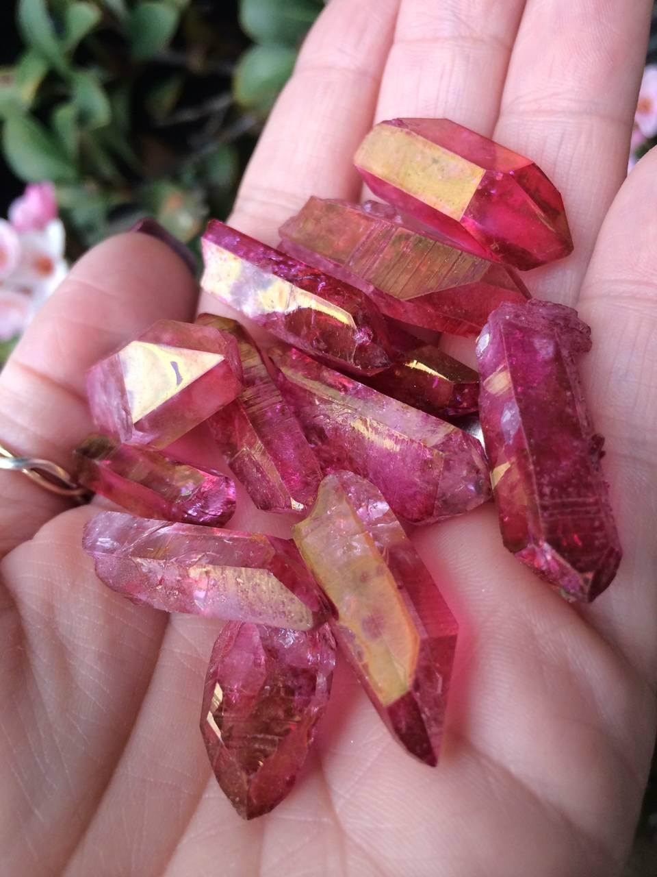 Back in Stock: Sunset Aura Quartz Points -  Stone of gentle love