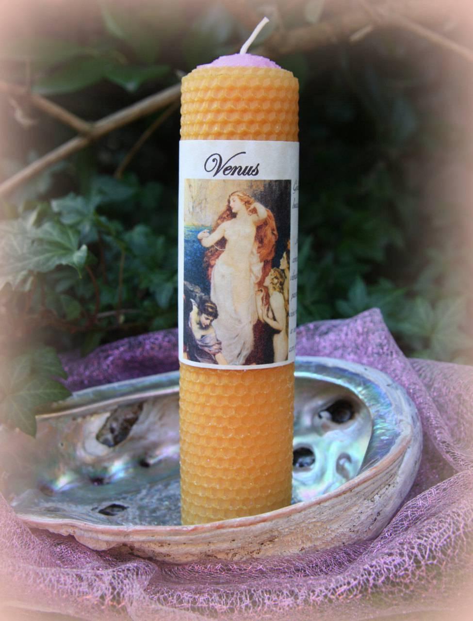 VENUS beeswax pillar candle - love