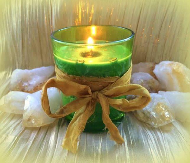 MONEY DRAW Votive with Citrine stones & Abundance herbal dressing - For money magic