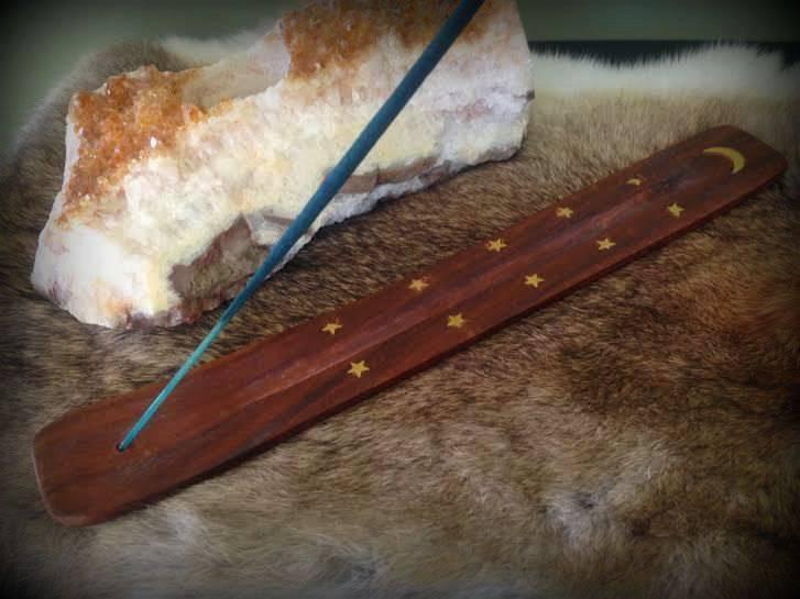 Wood and Brass Carved Stick Incense Burner