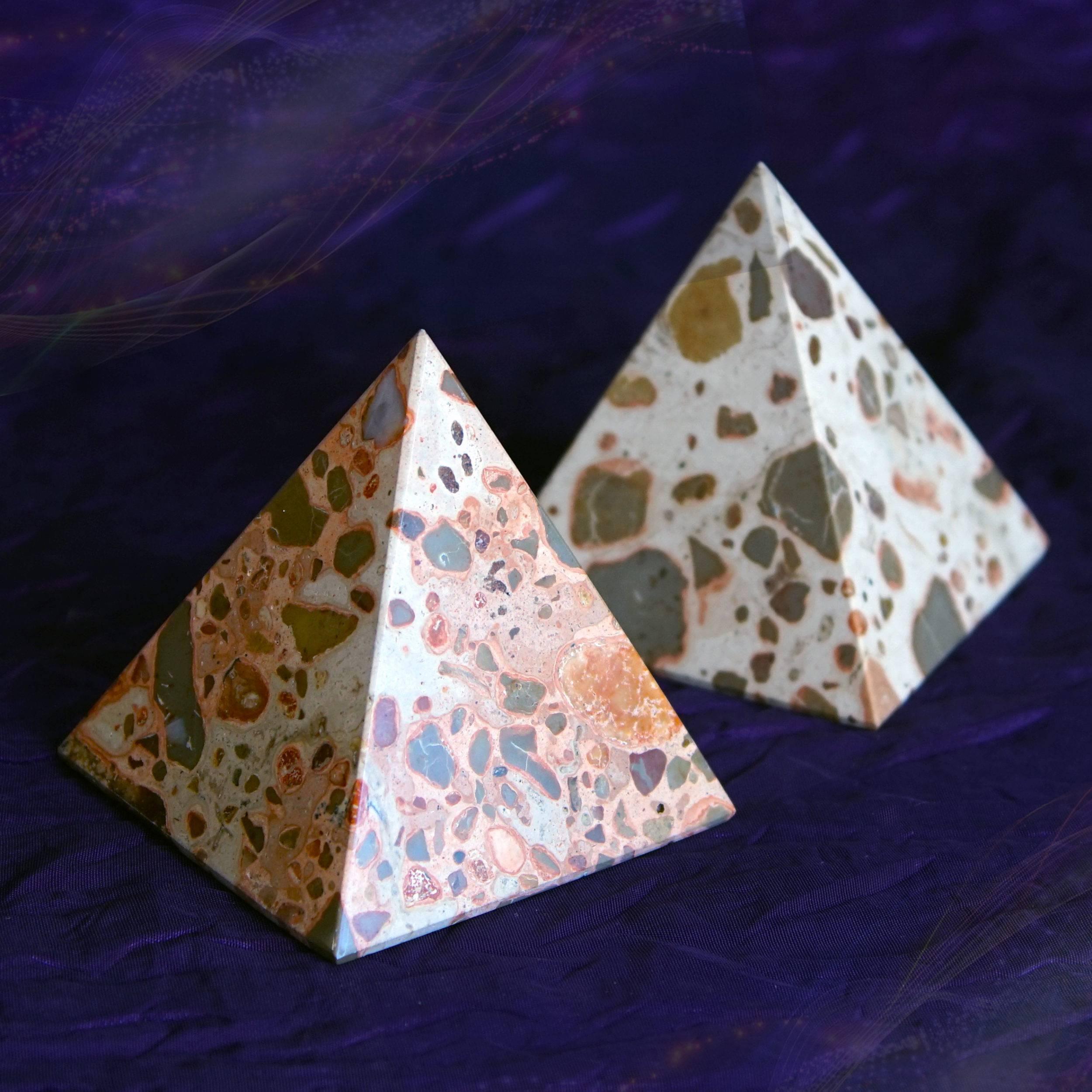 leopardskin jasper pyramids