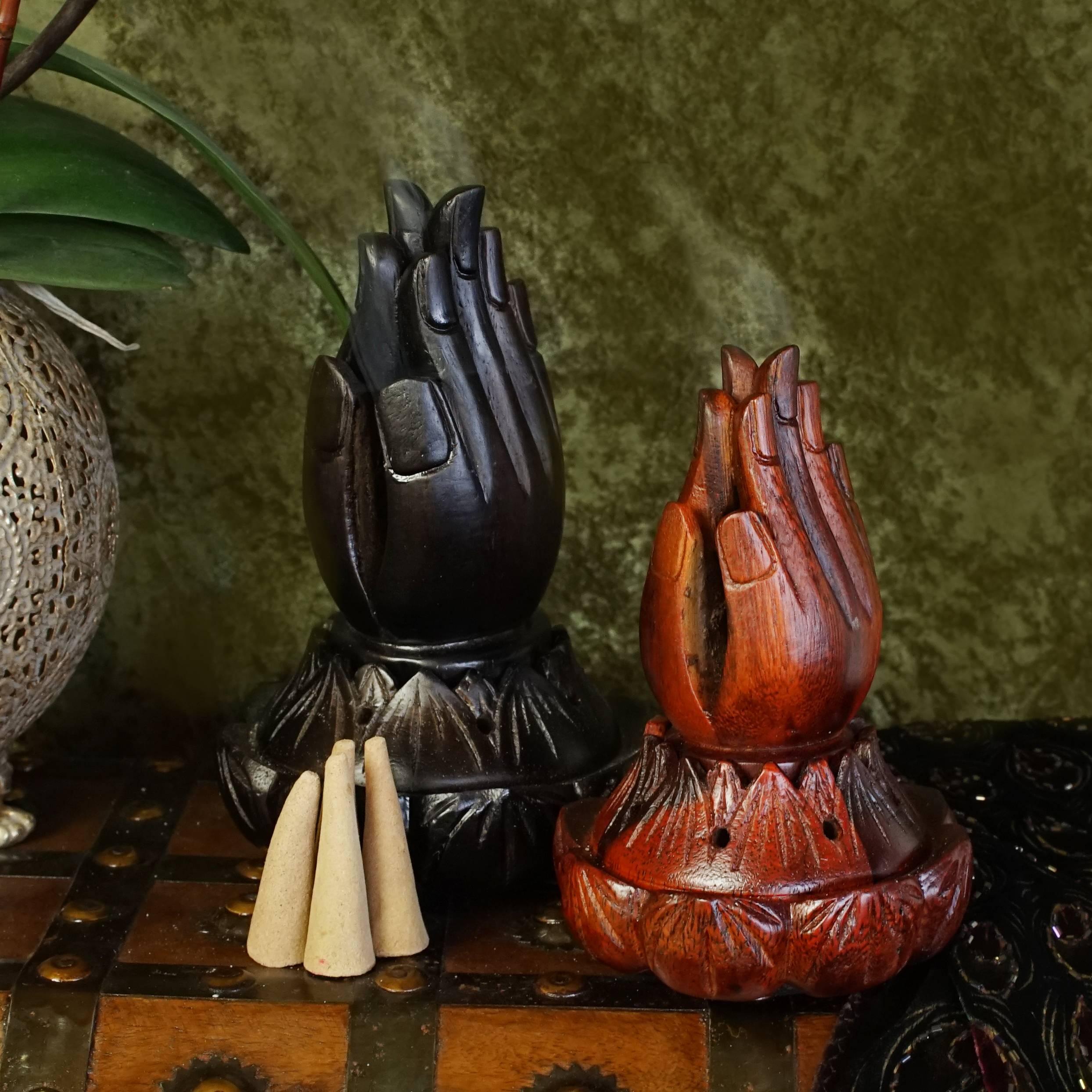 Praying Hands in Lotus Incense Burner for divine fragrance