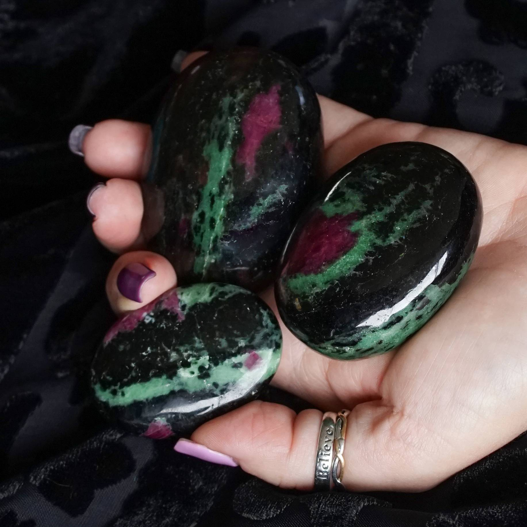 ruby zoisite palm stones