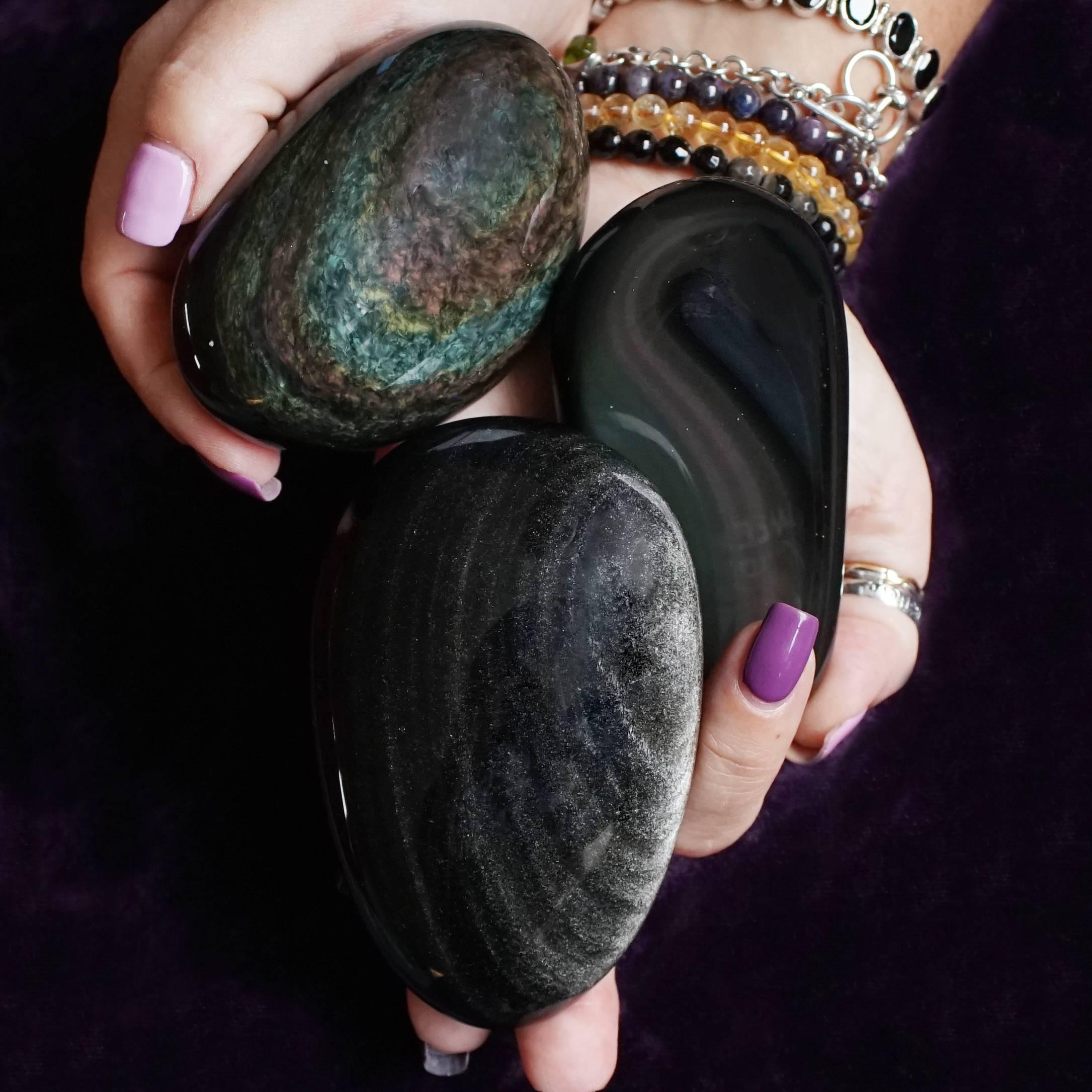 obsidian palm stones