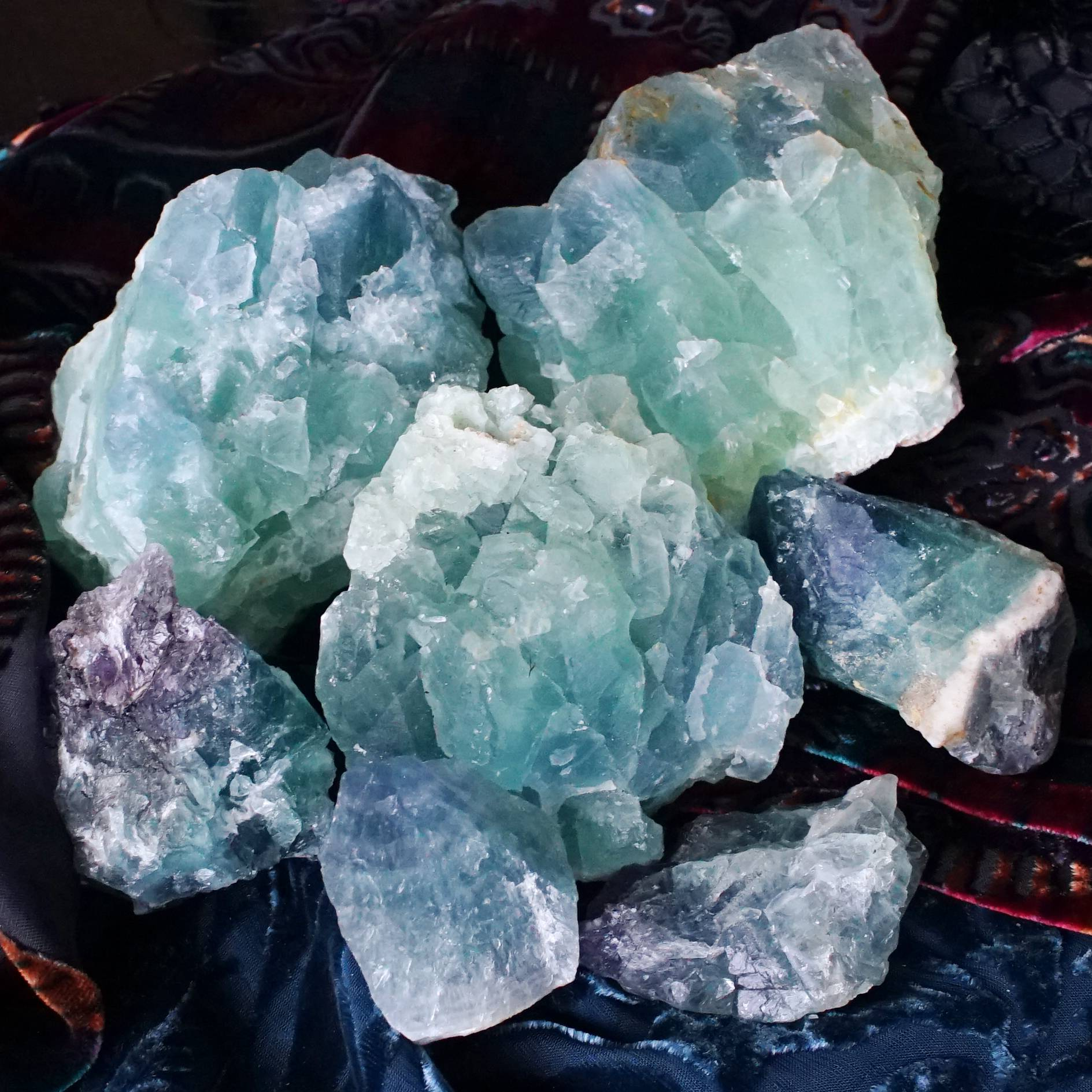 natural teal blue fluorite