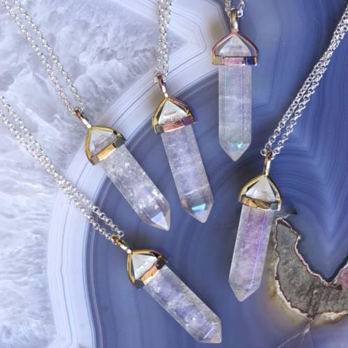 angel aura quartz pendants