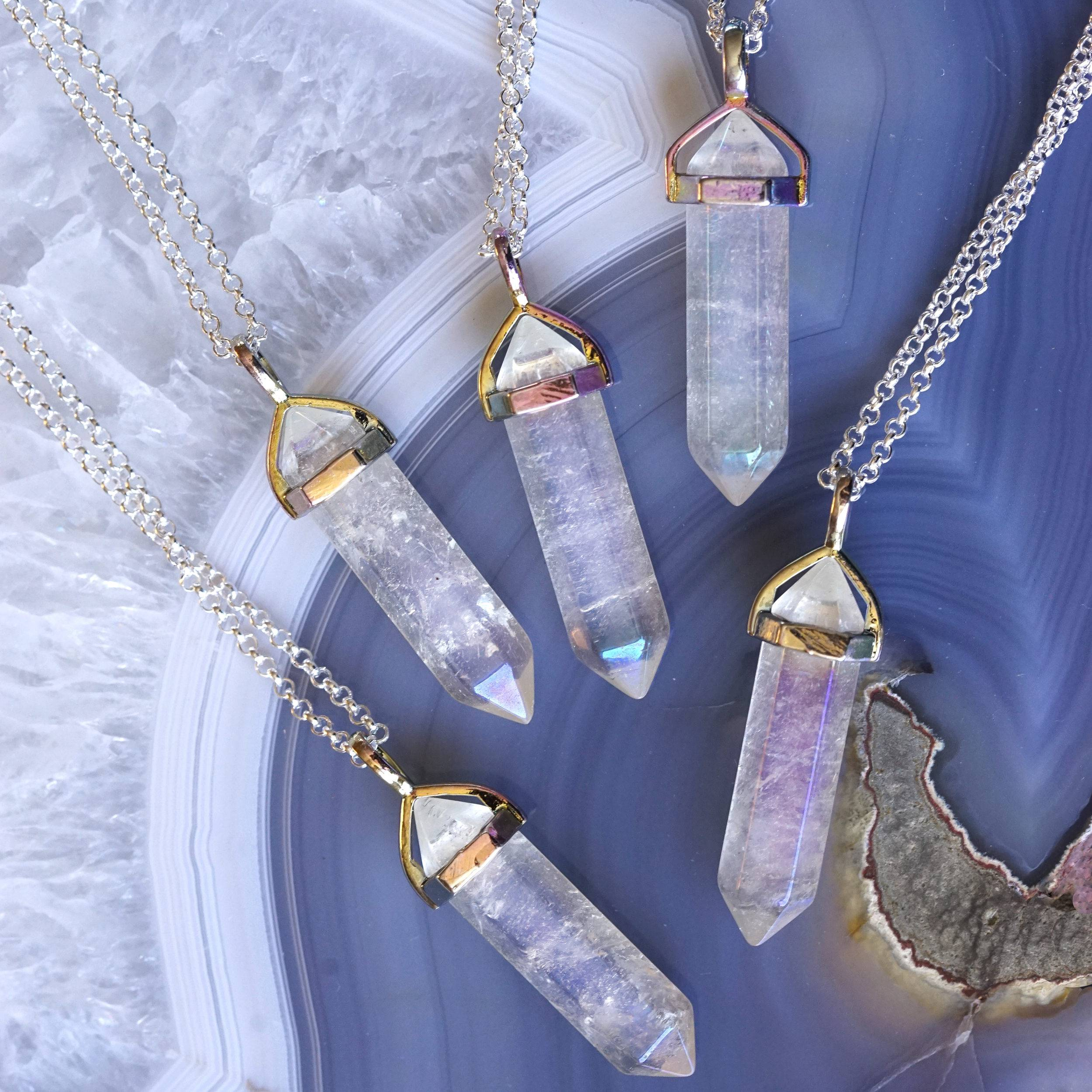 angel aura quartz pendants
