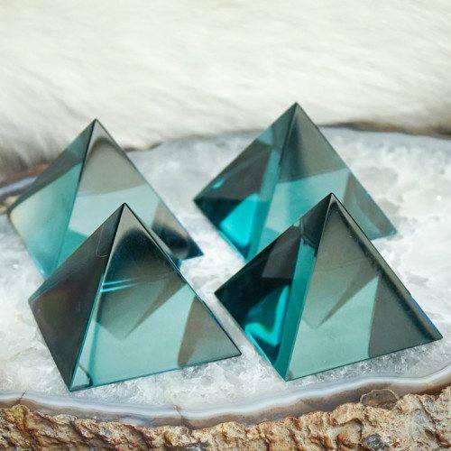 Blue obsidian pyramids
