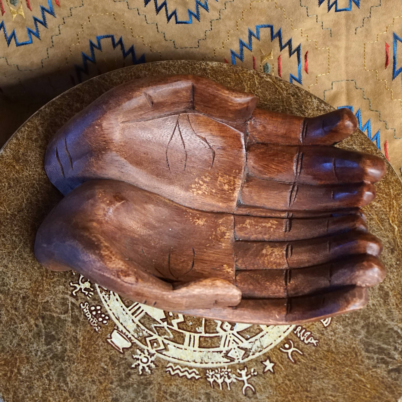 praying hands wooden altar bowls