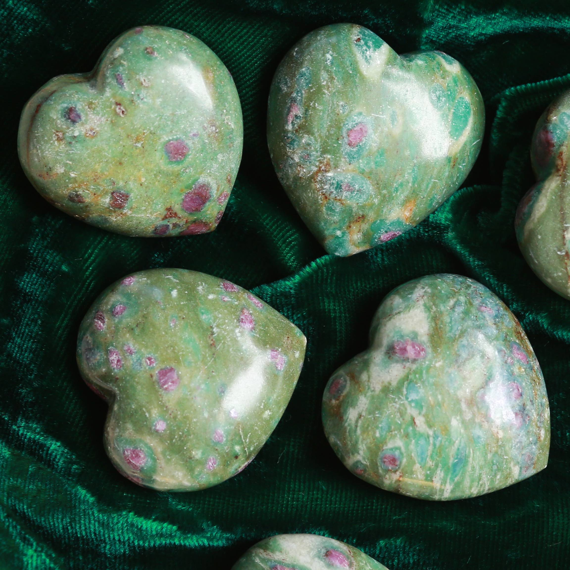 ruby fuchsite hearts