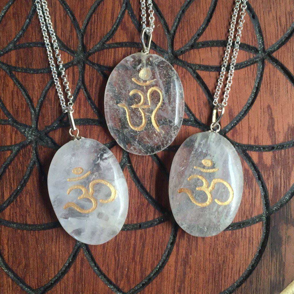 clear quartz om pendant