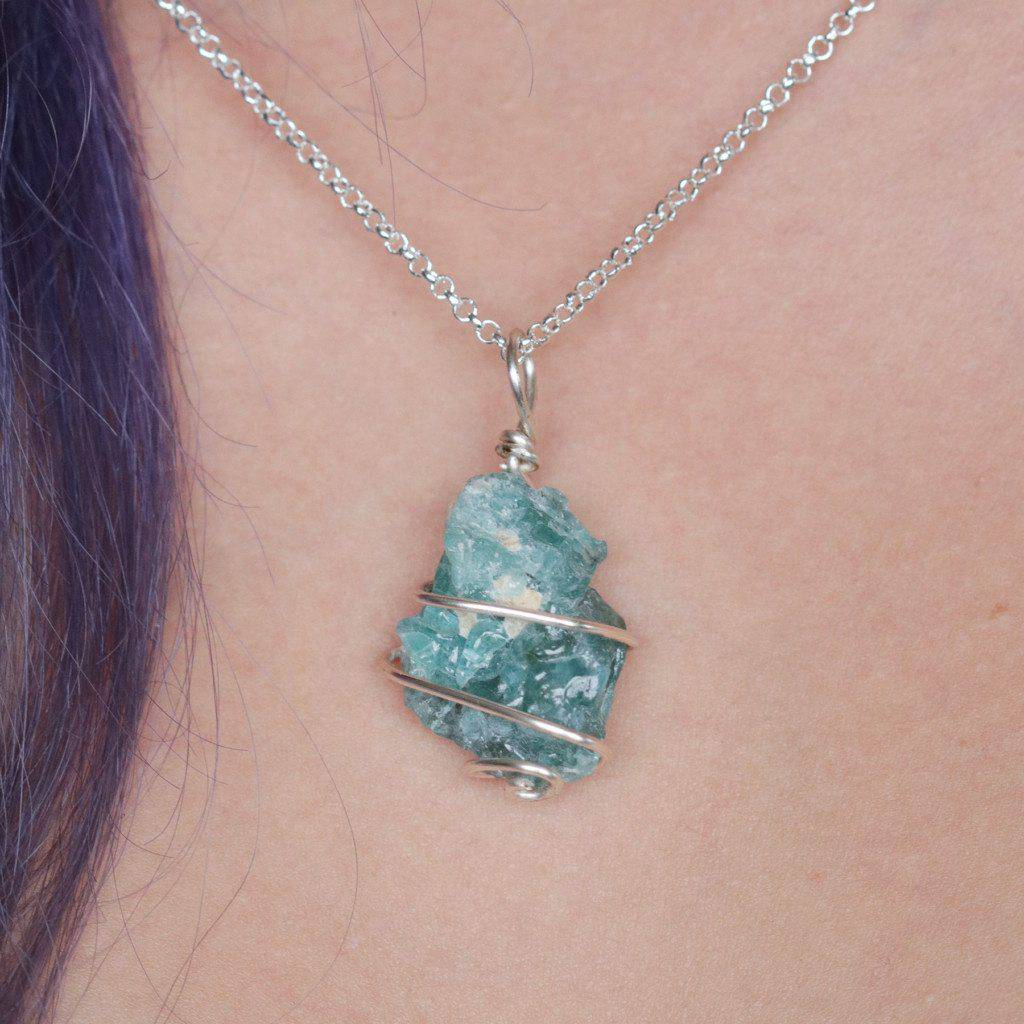 Wire wrapped blue apatite