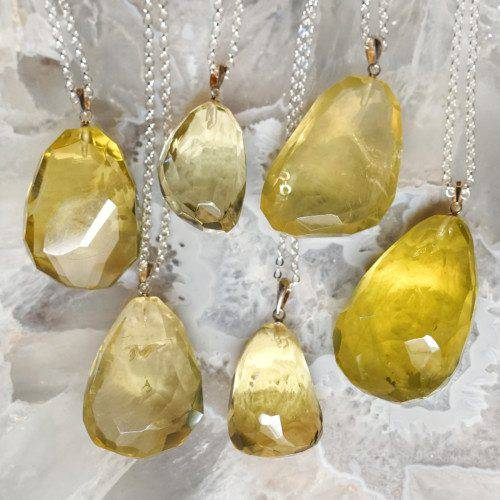 lemon quartz pendants