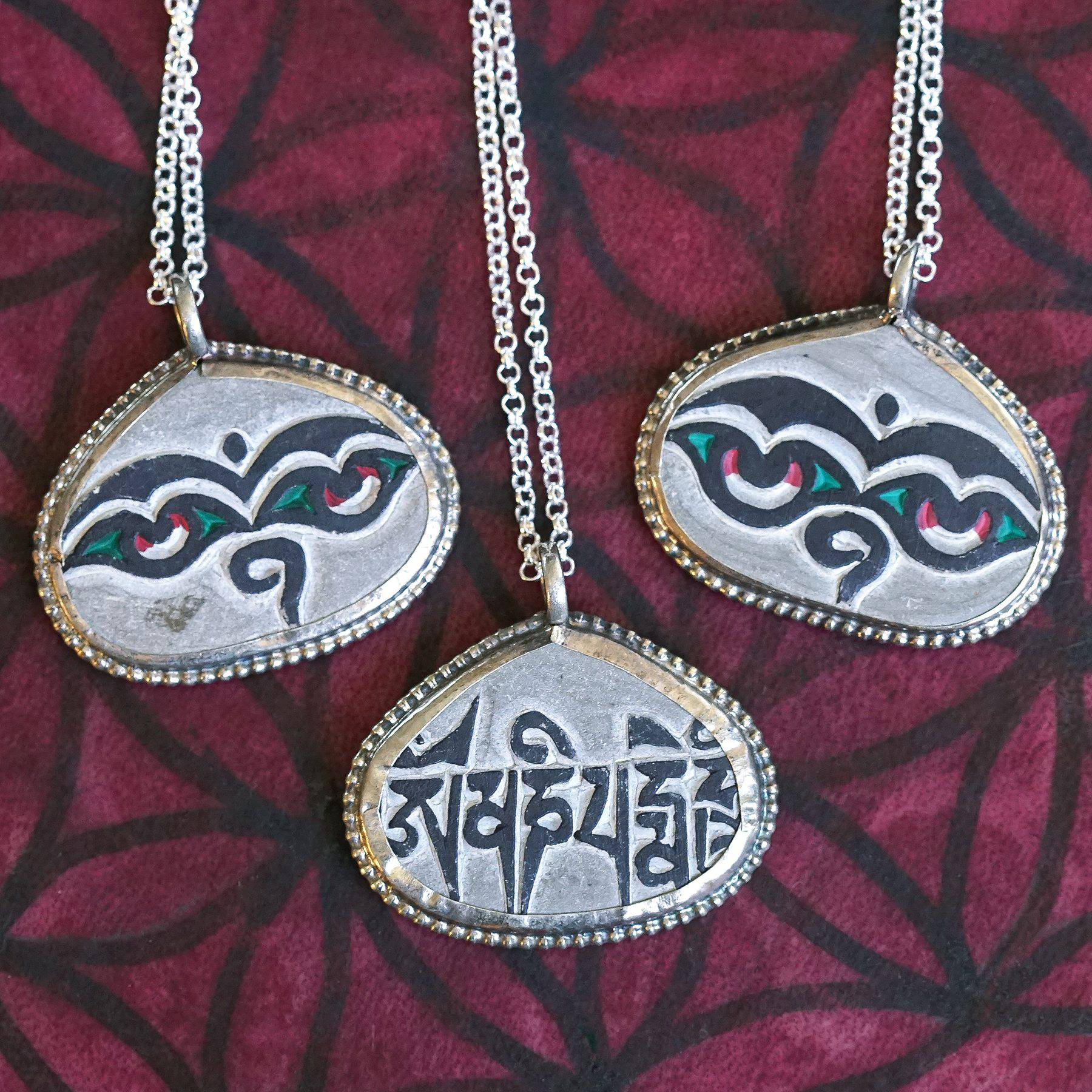Mani Stone Prayer Pendants