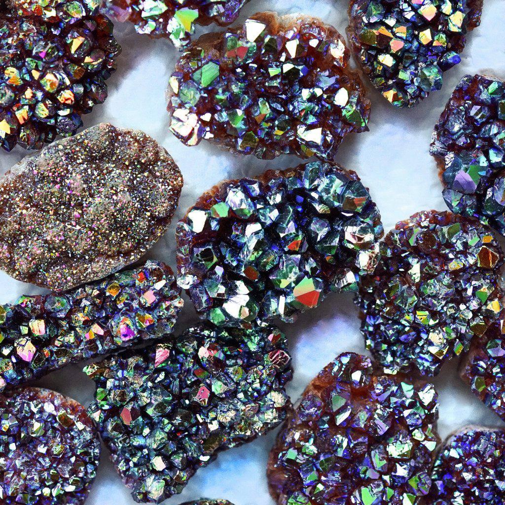 opal aura citrine mini clusters