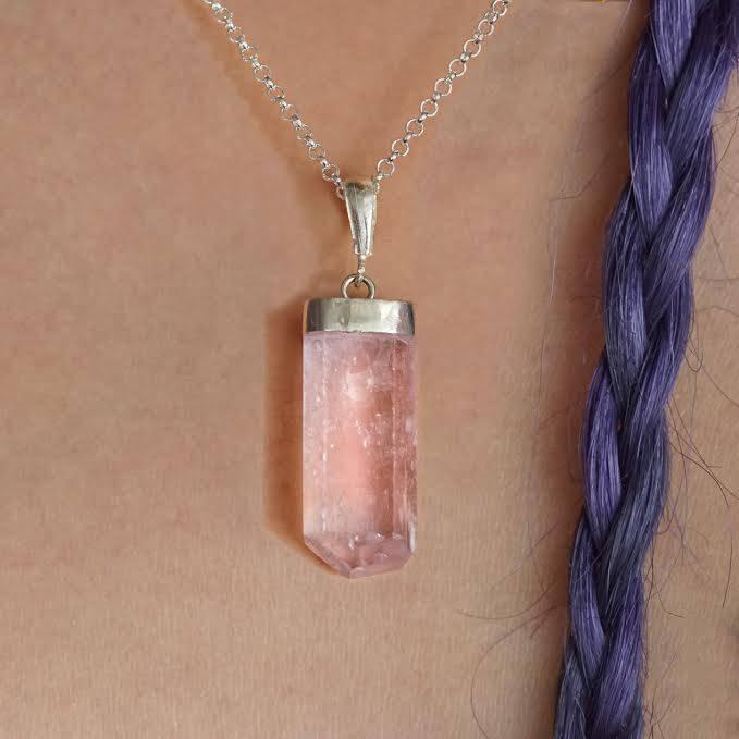 faceted kunzite pendants