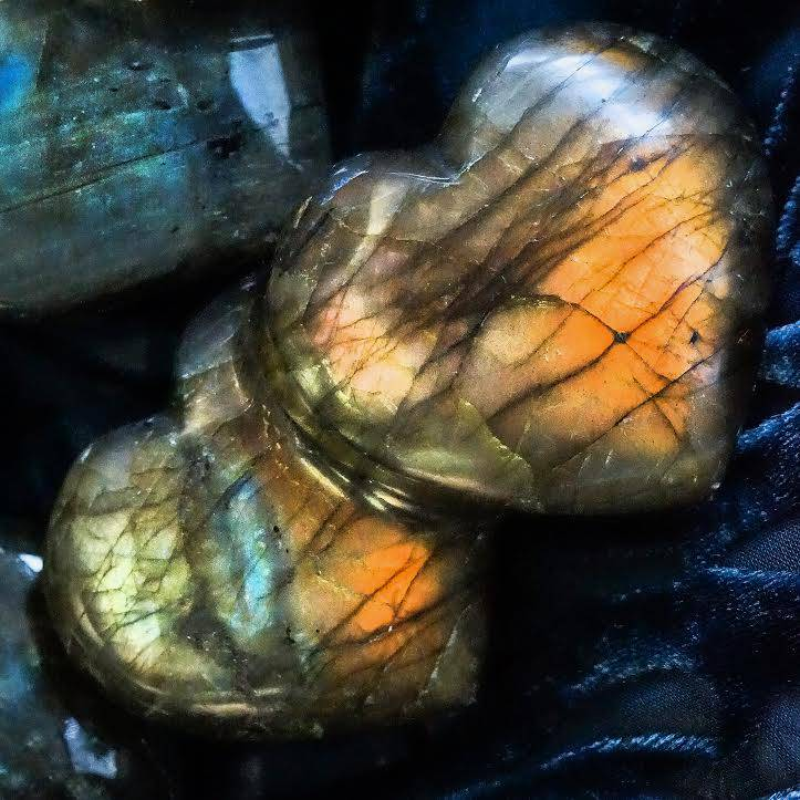 Labradorite double hearts