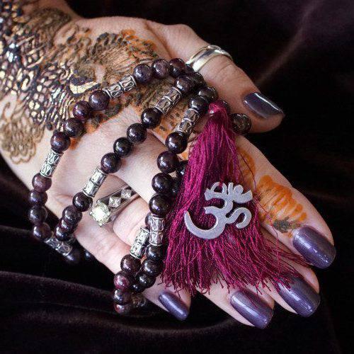 Garnet and Rutilated Quartz Mala Necklaces