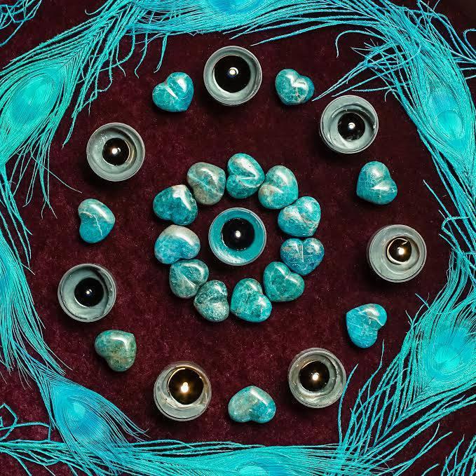 Blue Apatite Mini Hearts