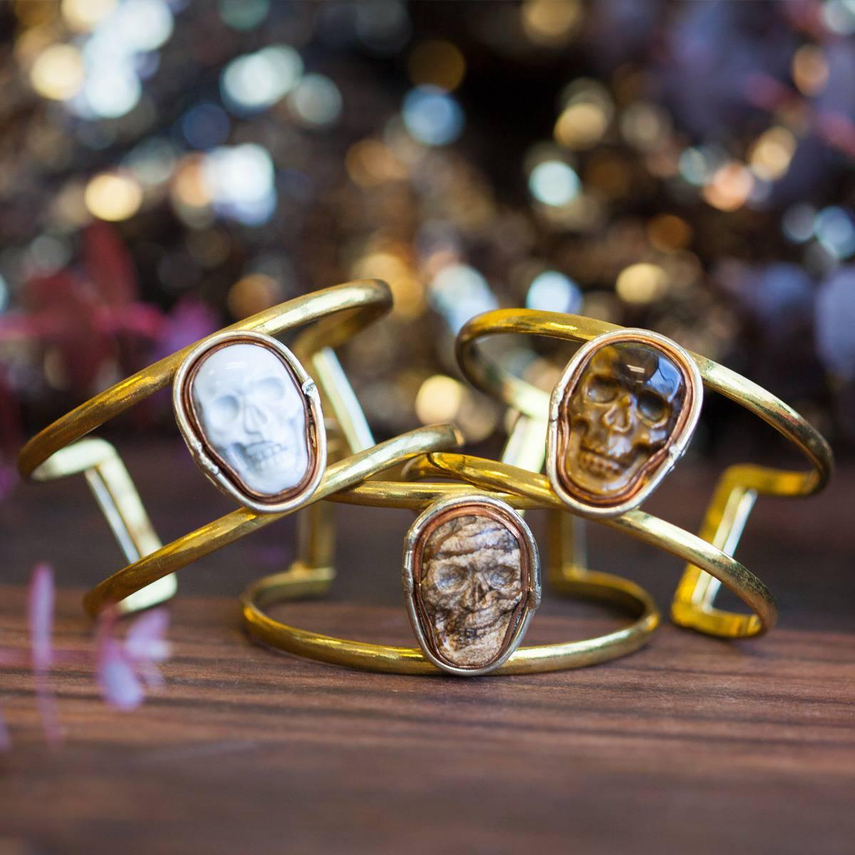 Gemstone Skull Cuff Bracelets 5_23