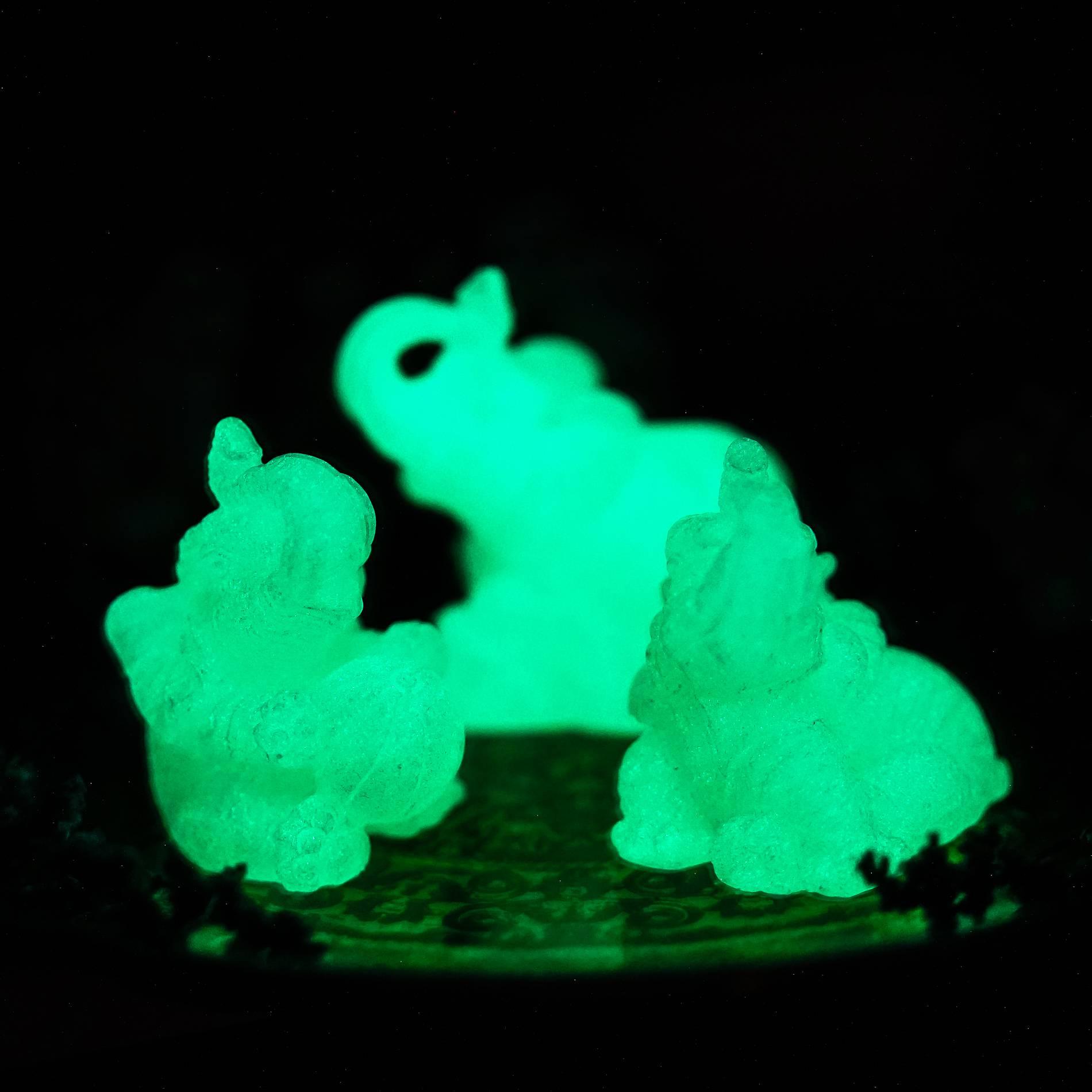 glow in the dark elephant carvings