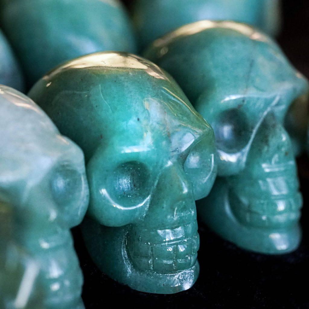 Green aventurine skulls