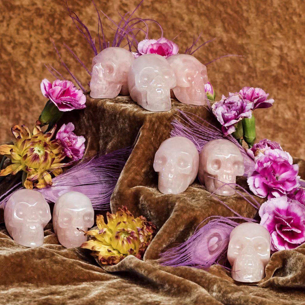 rose quartz skulls