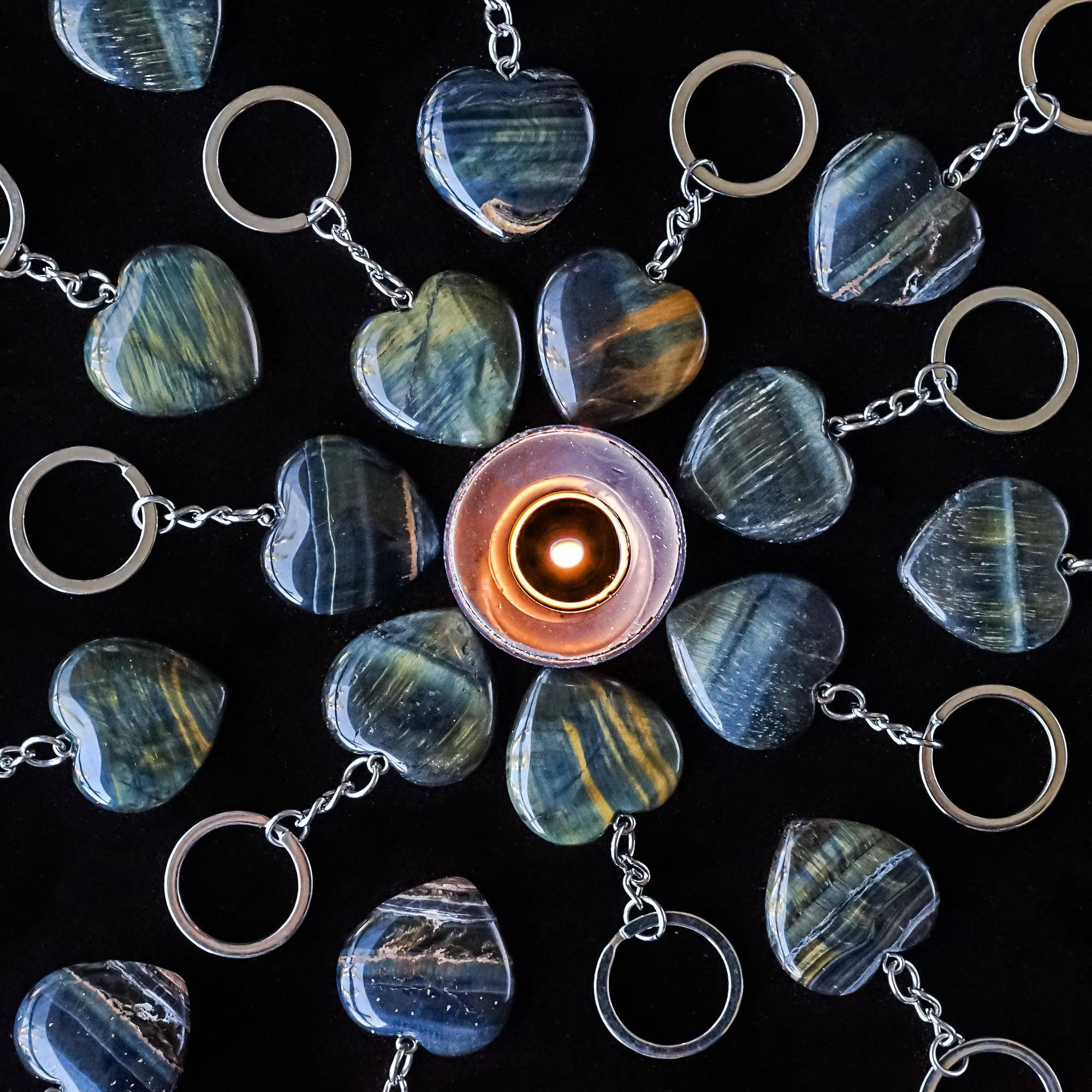 blue tiger's eye heart keychains