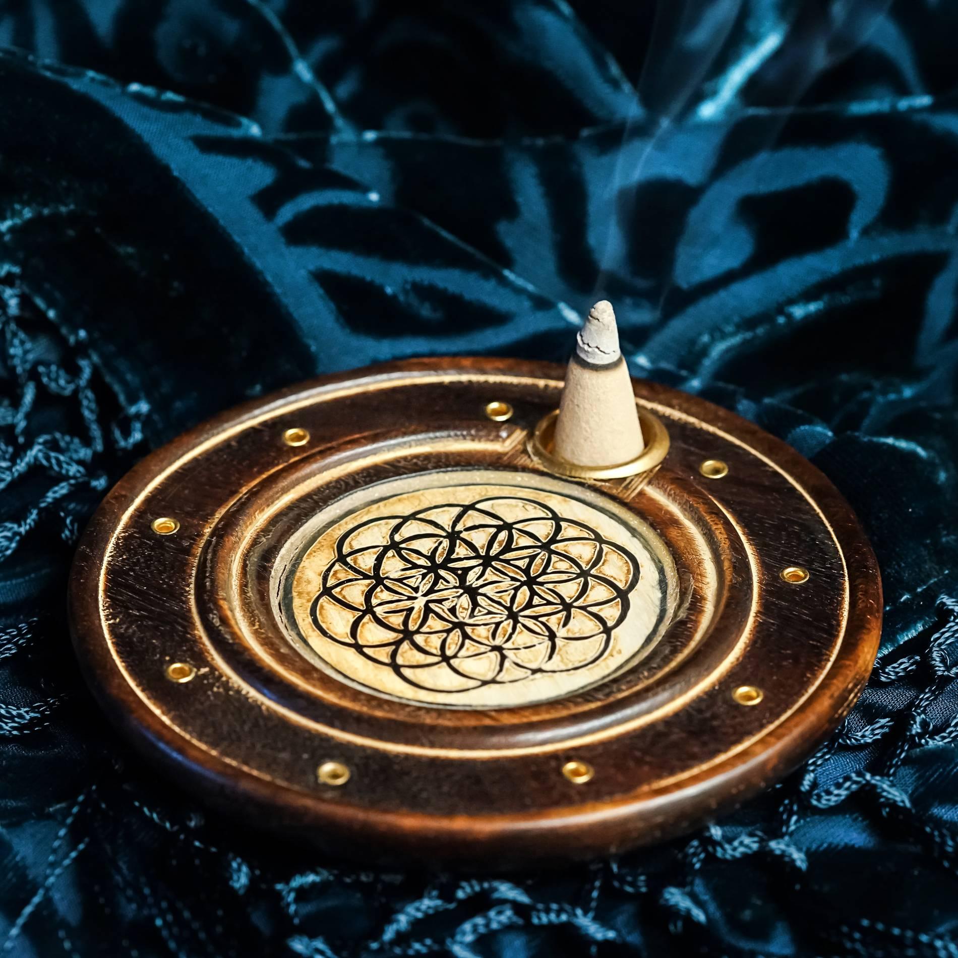 flower of life incense cone burner
