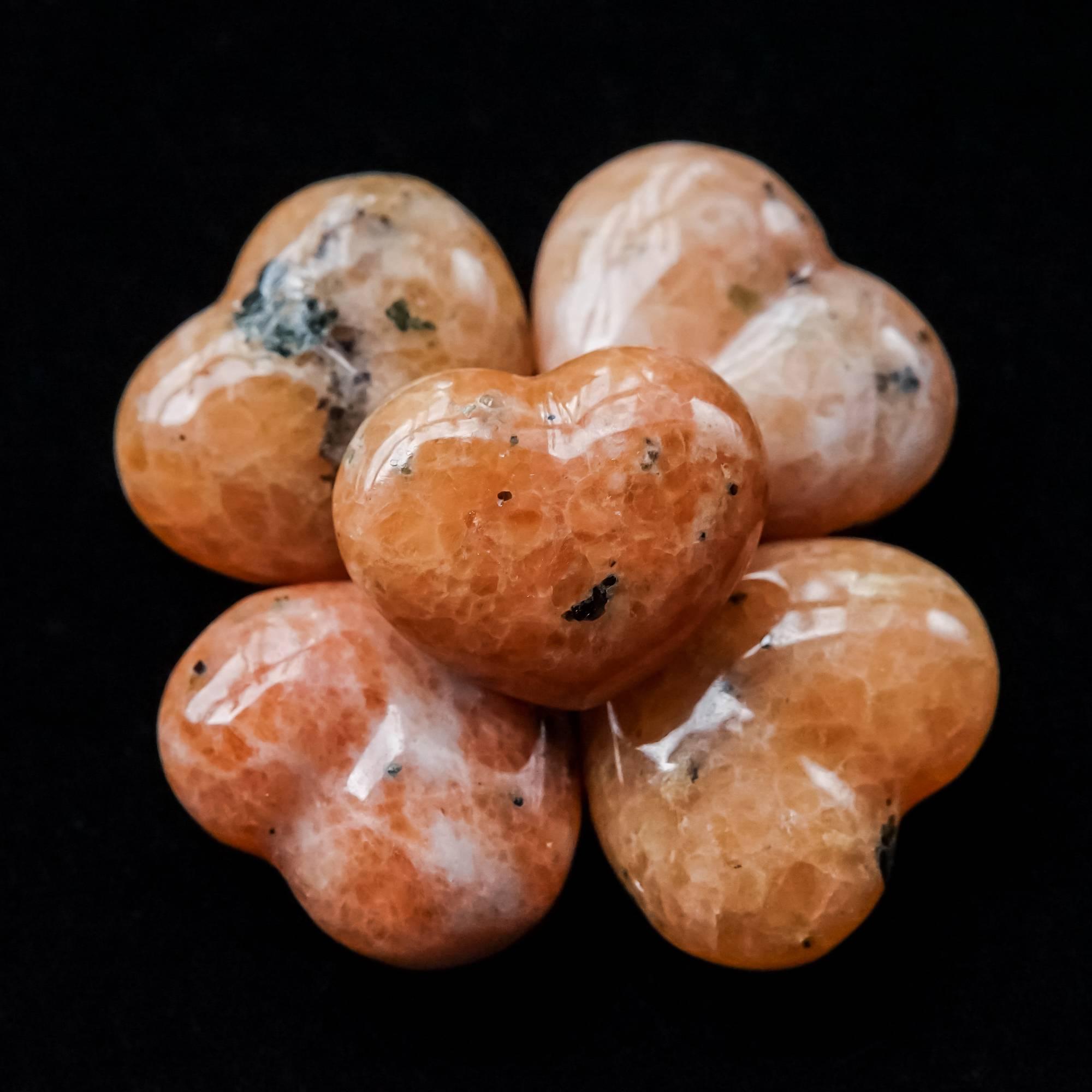 orchid calcite mini hearts