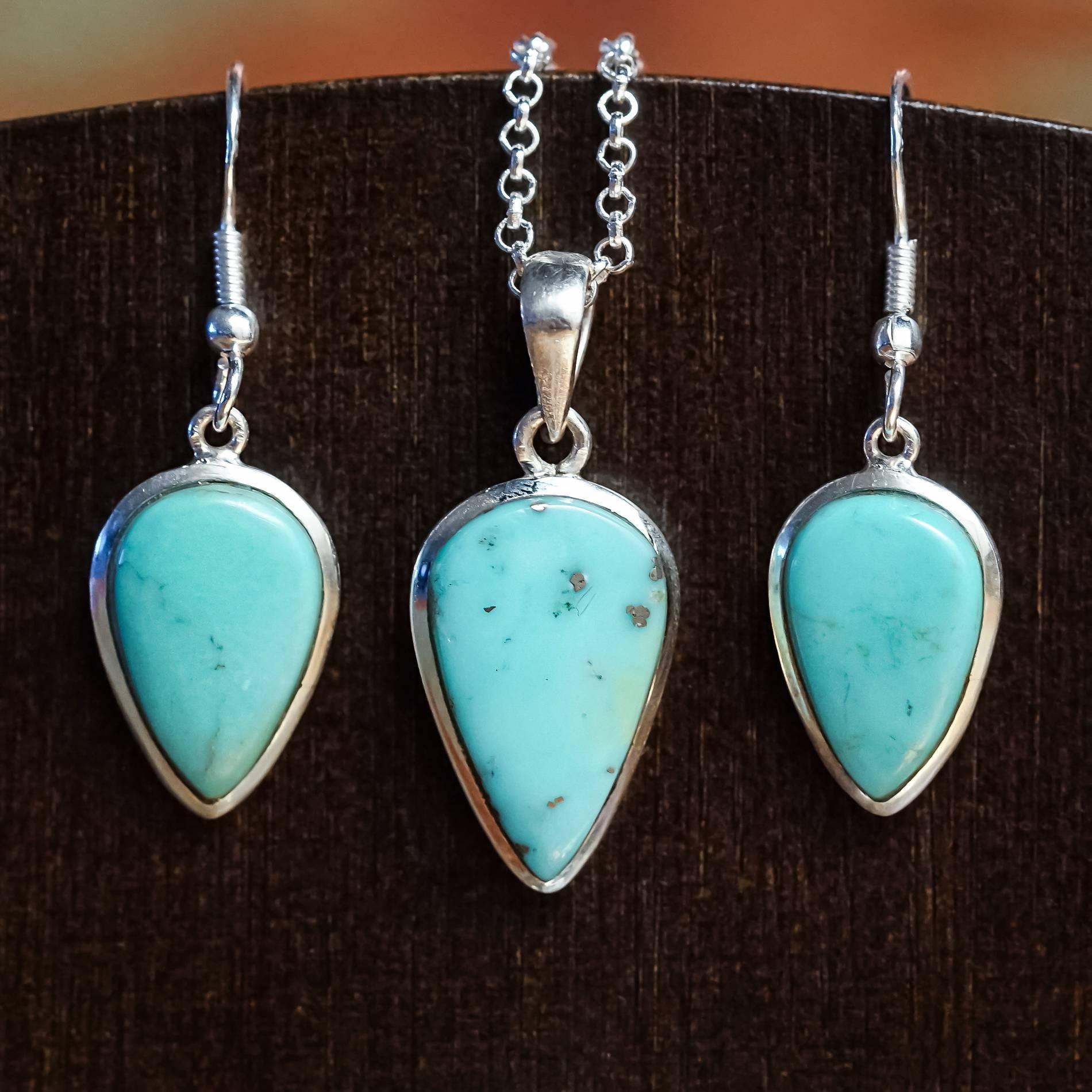 sleeping beauty turquoise earring and pendant set