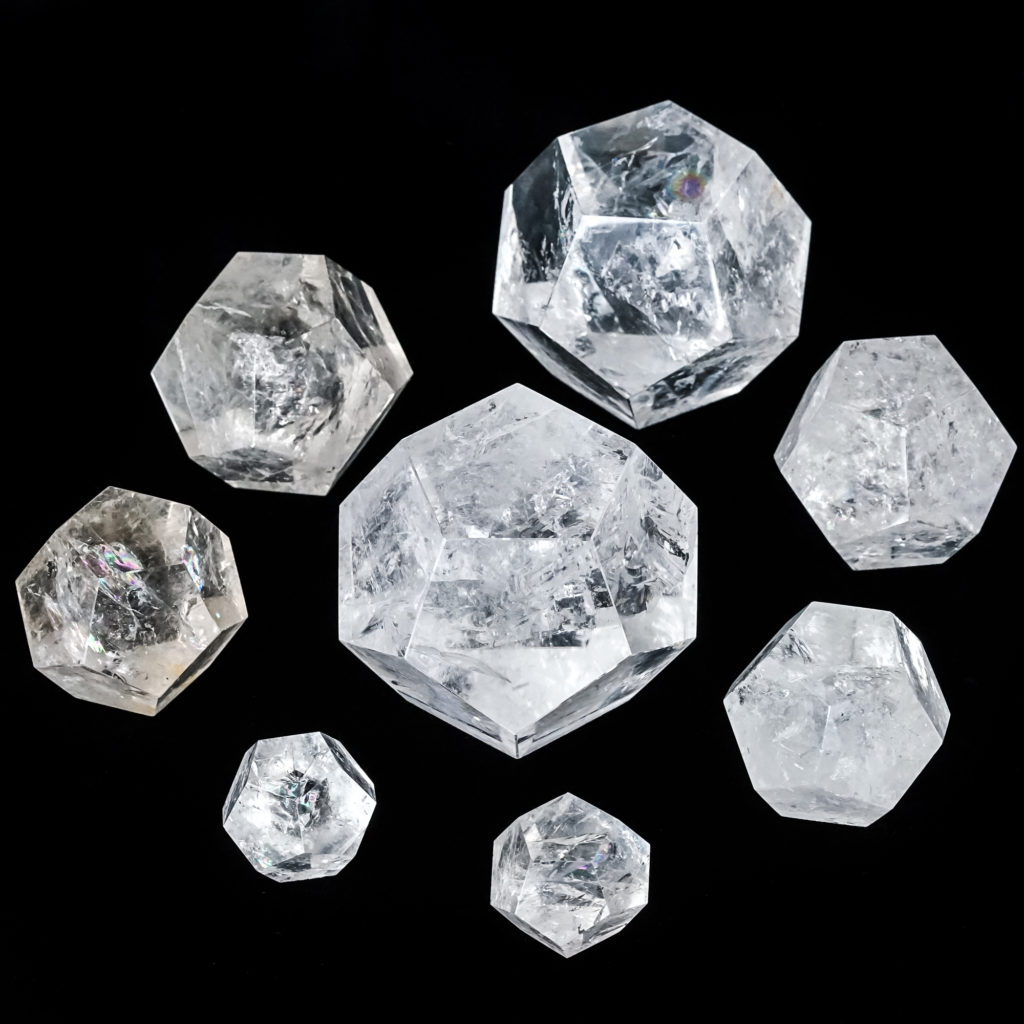 crystal healing with clear quartz dodecahedron crystals