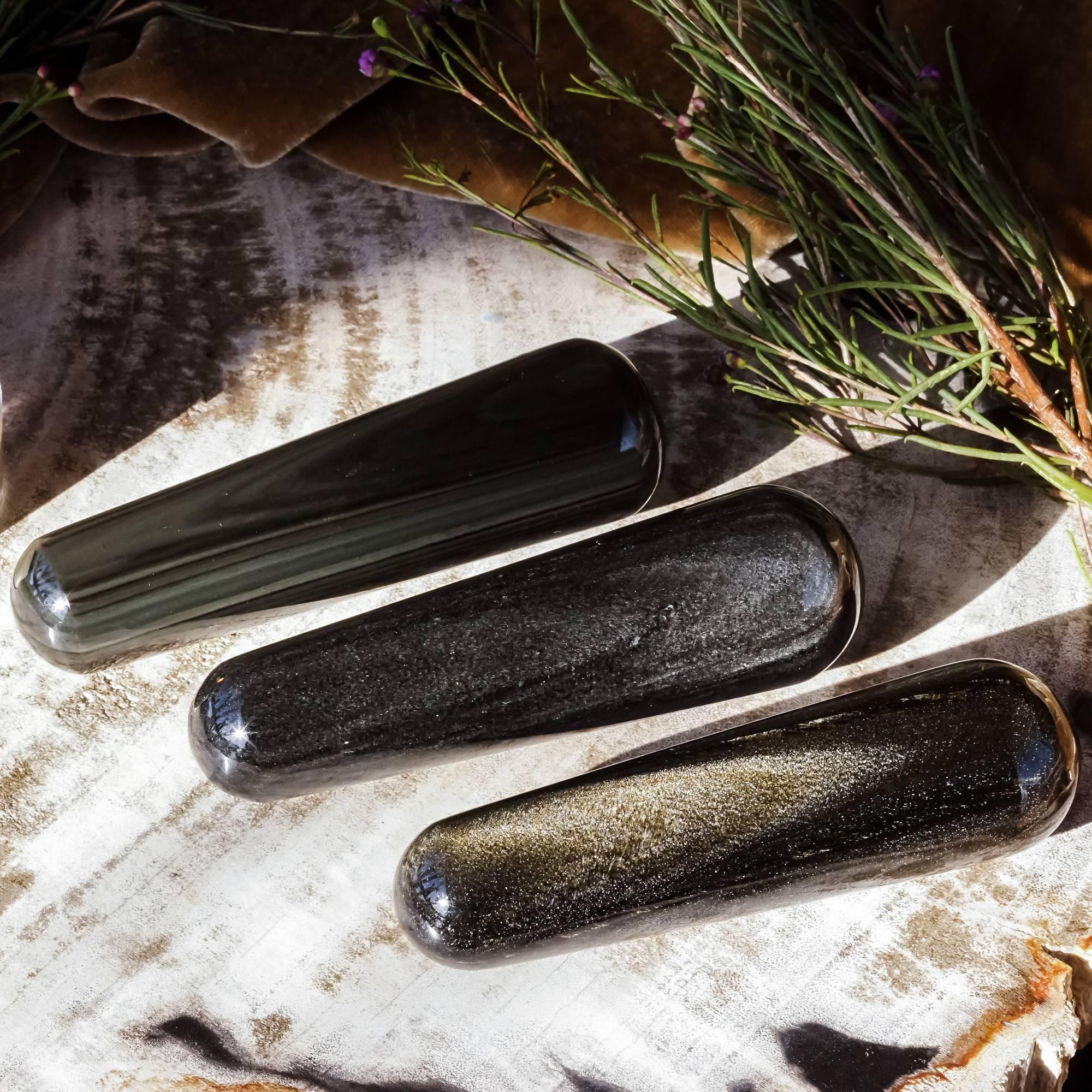 obsidian crystal wands