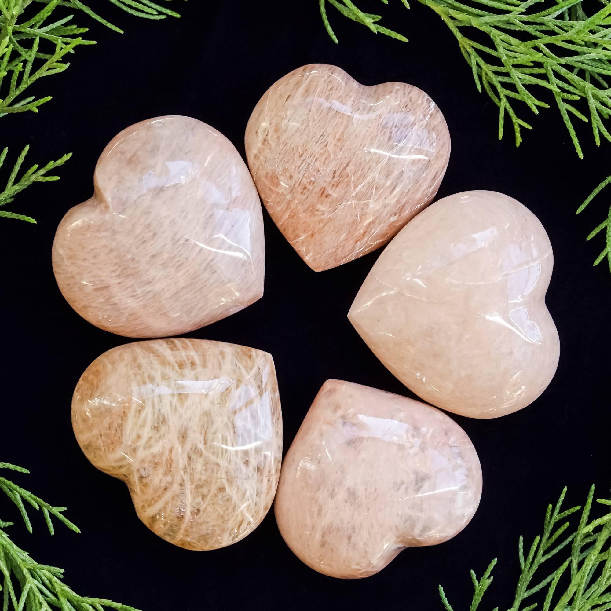 peach moonstone hearts