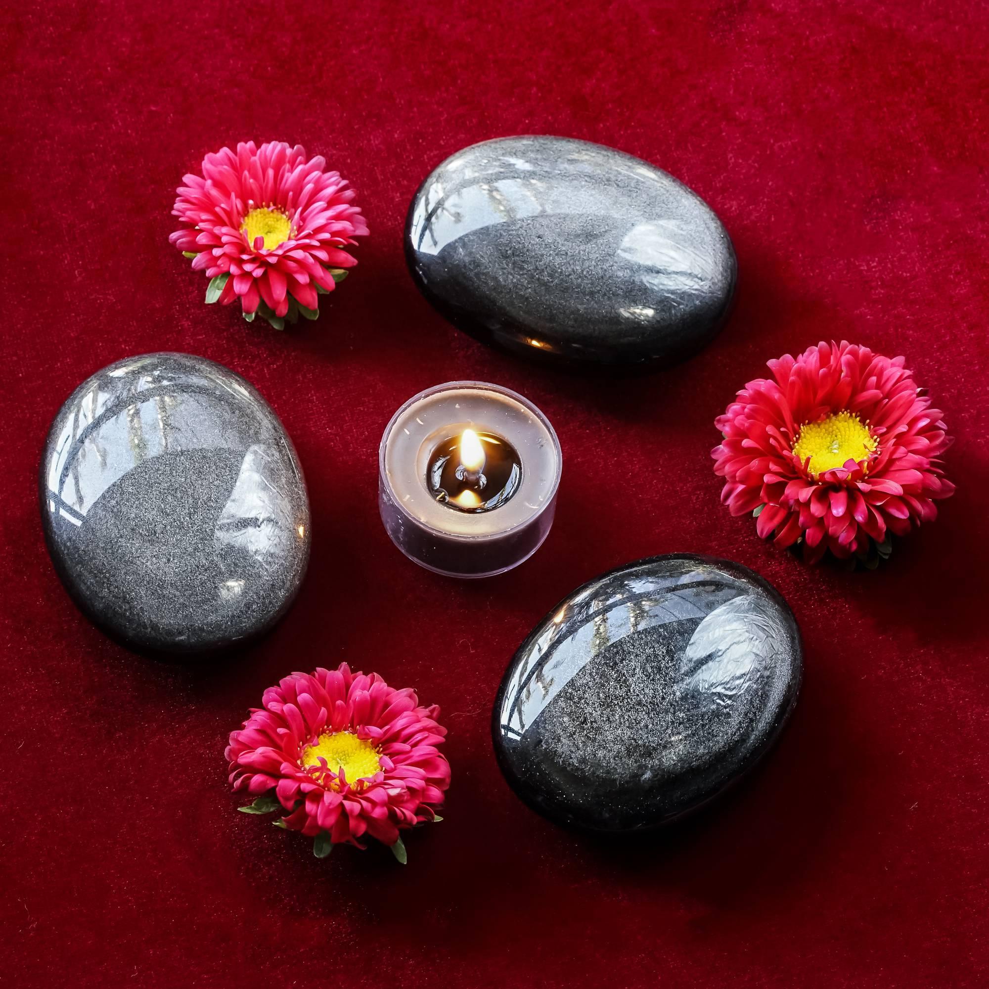 silver sheen obsidian palm stones