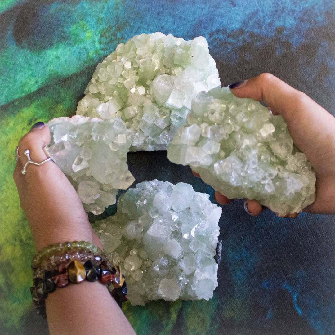 Green Apophyllite Clusters
