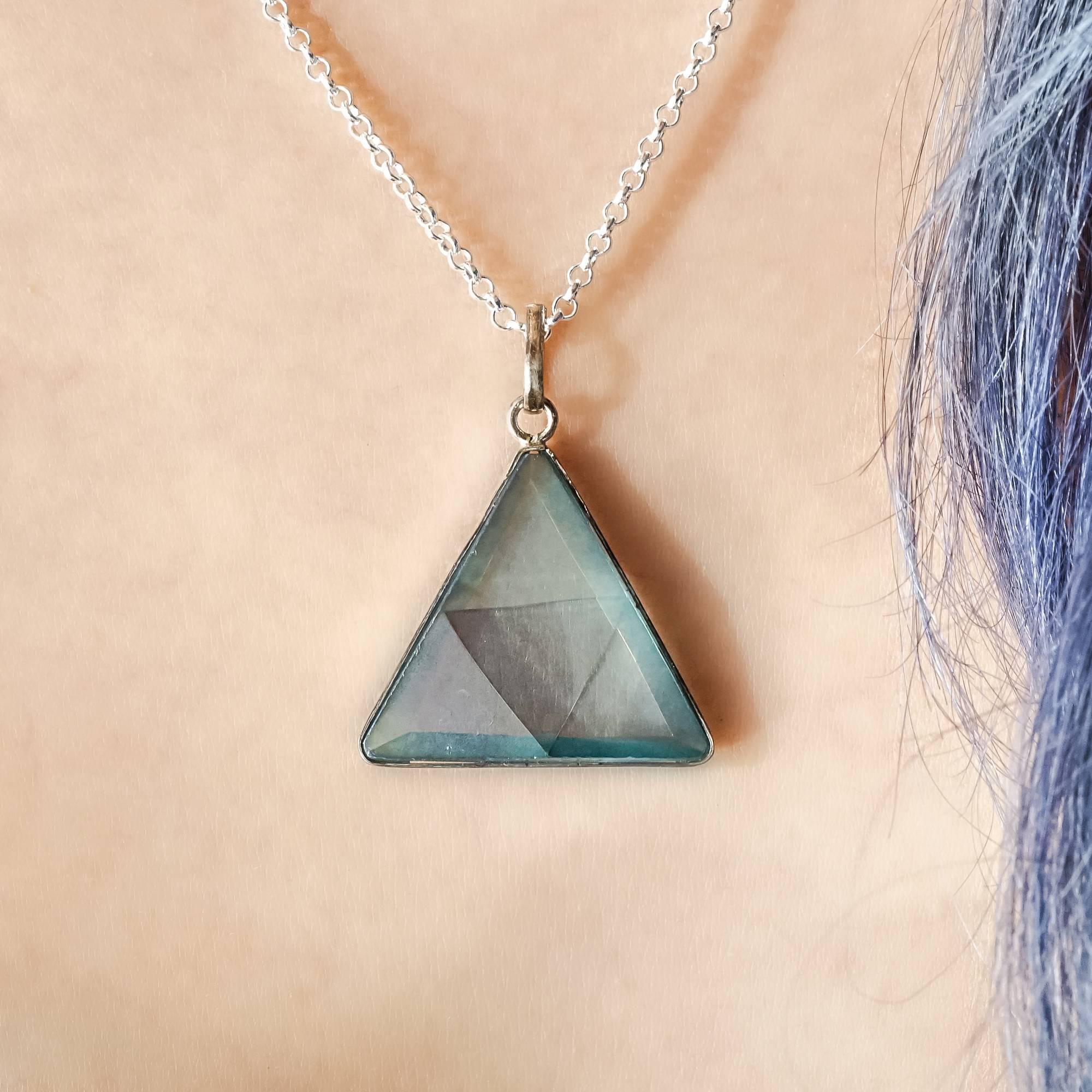Aqua Aura Triangle Lemurian Quartz Pendants