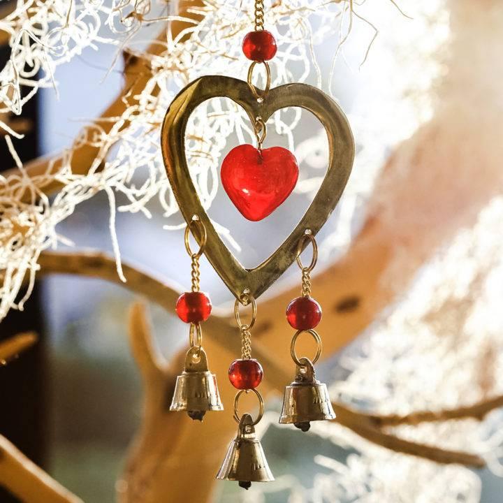 brass heart chimes