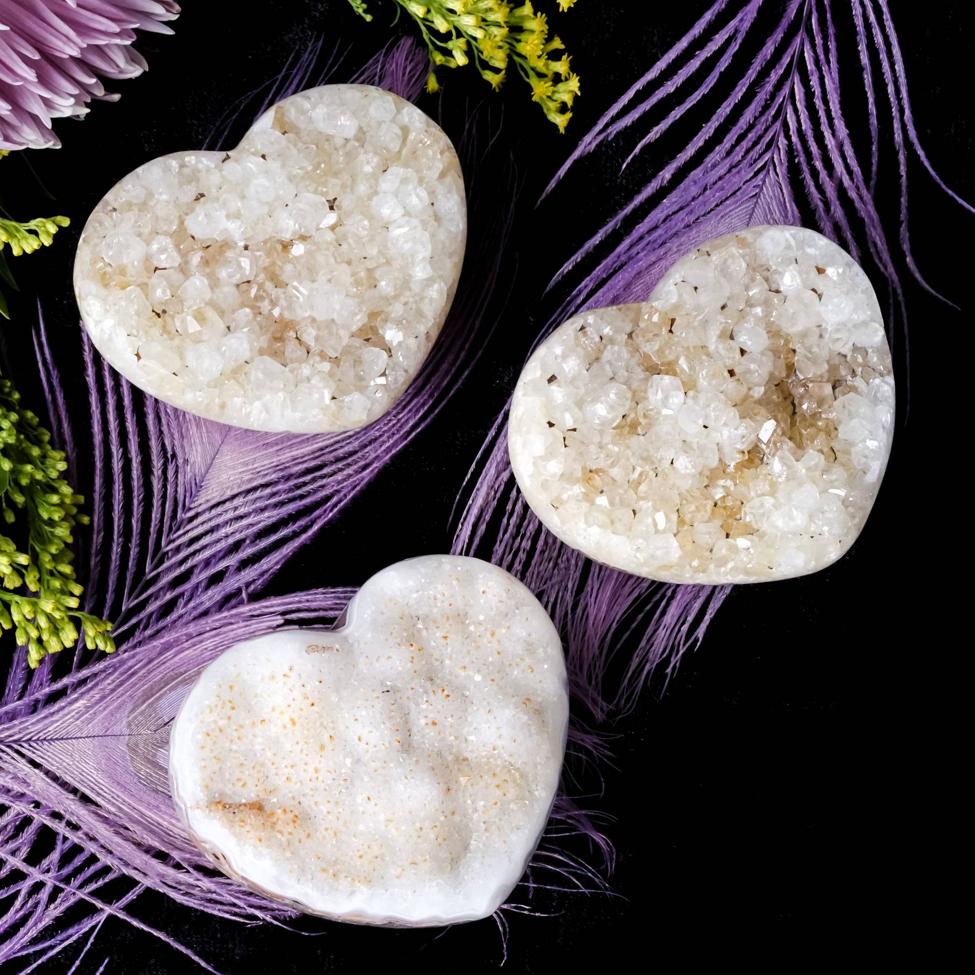 druzy agate heart crystals