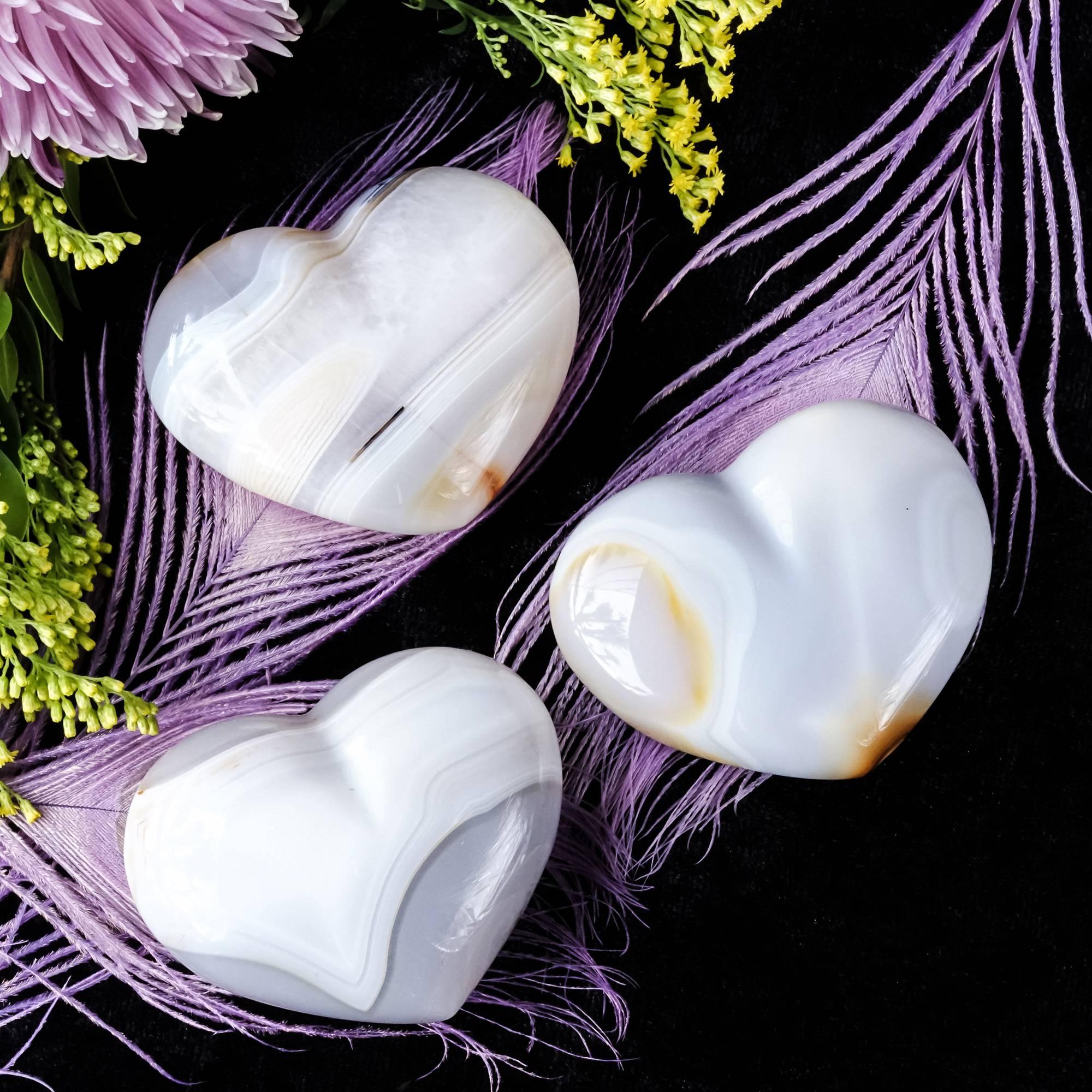 polished agate heart gemstones