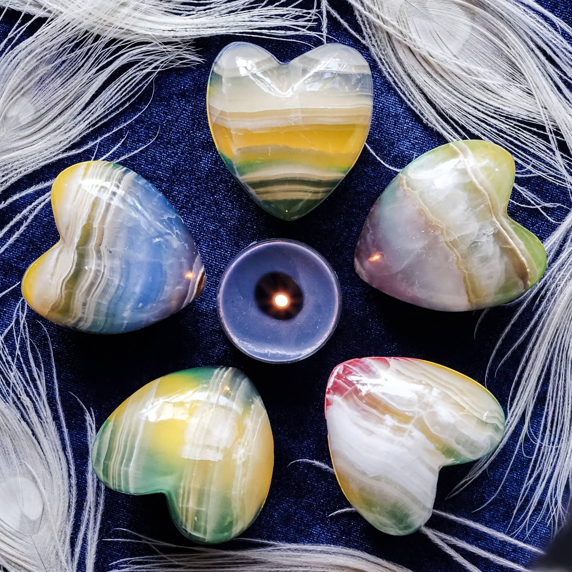 rainbow onyx hearts