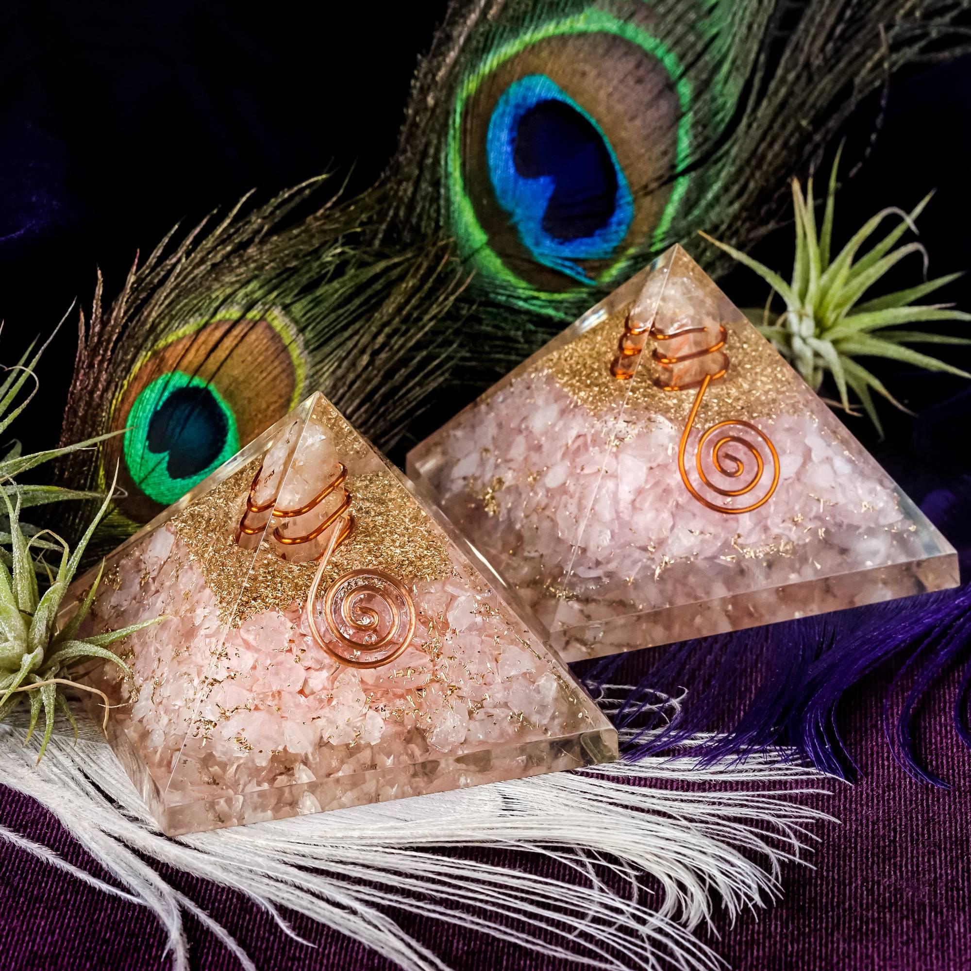 rose quartz orgonite pyramids