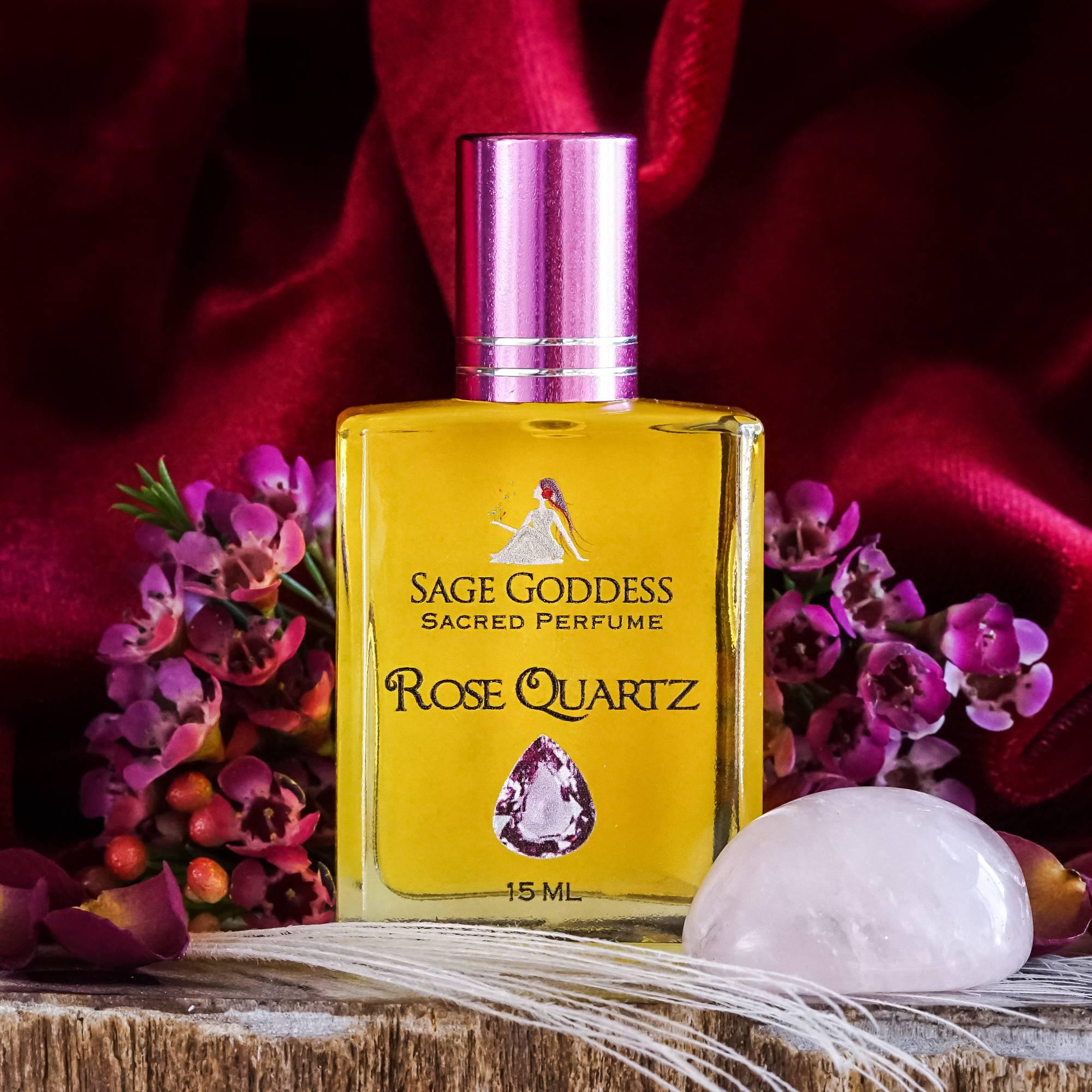 rose quartz perfume with rose quartz tumbled stone