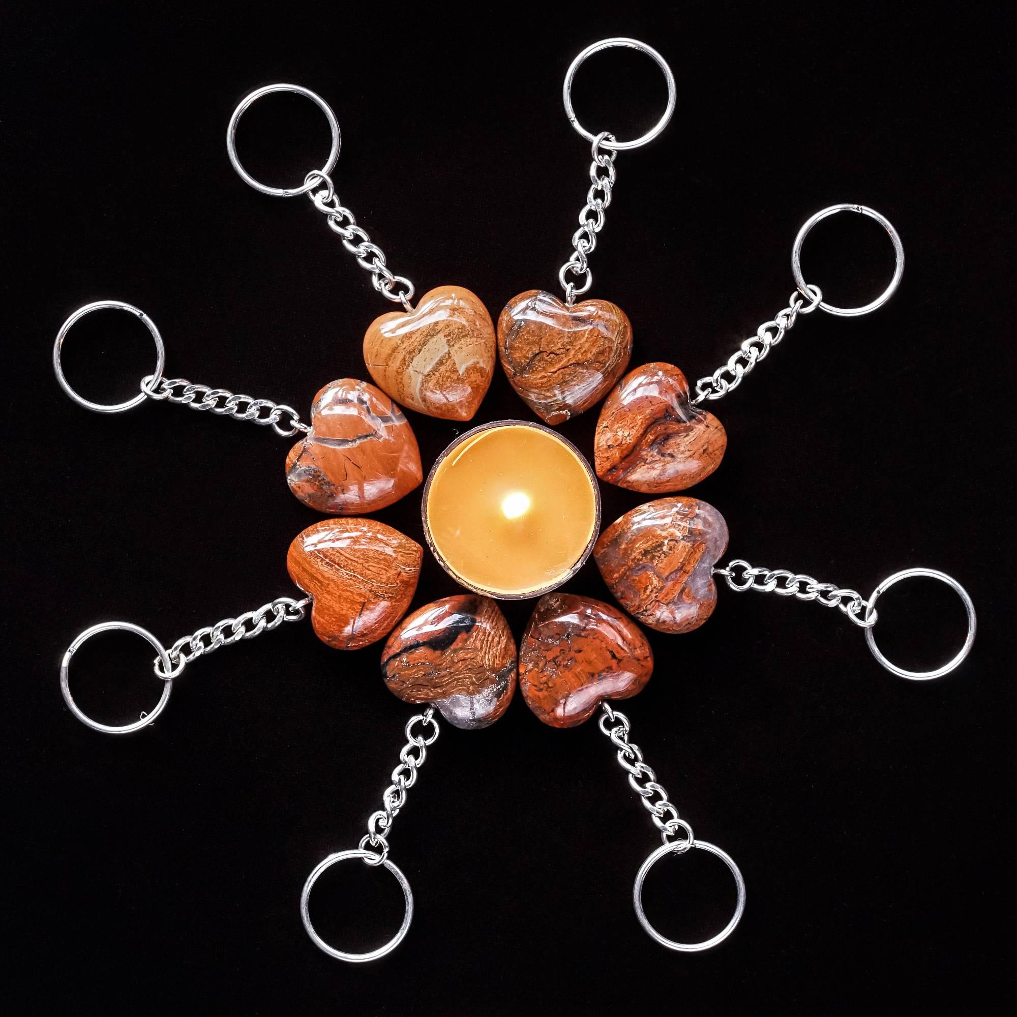 snakeskin jasper heart keychains