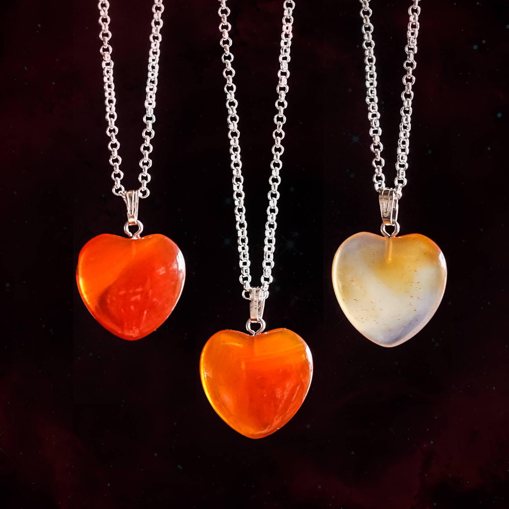 carnelian heart pendants