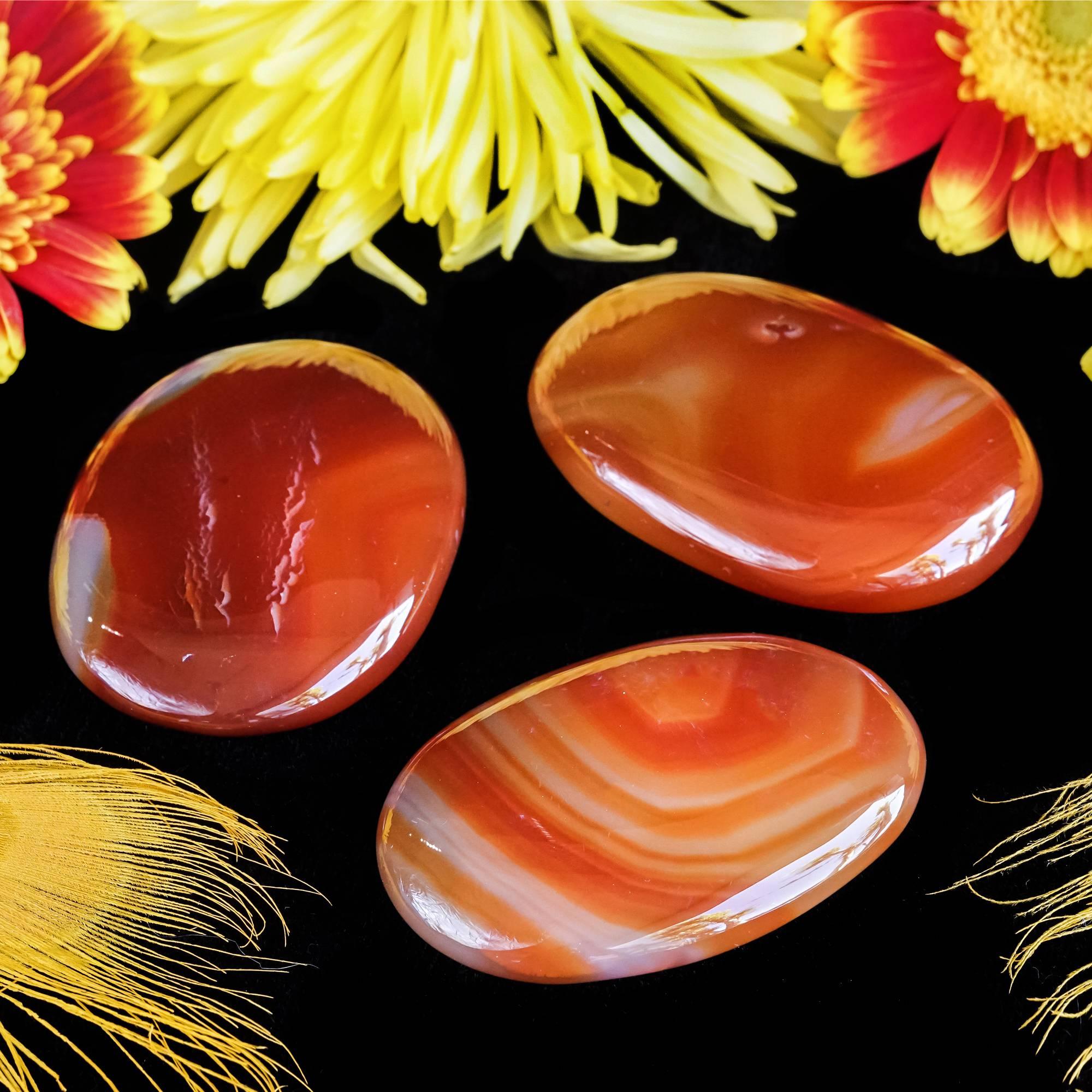 carnelian palm stones