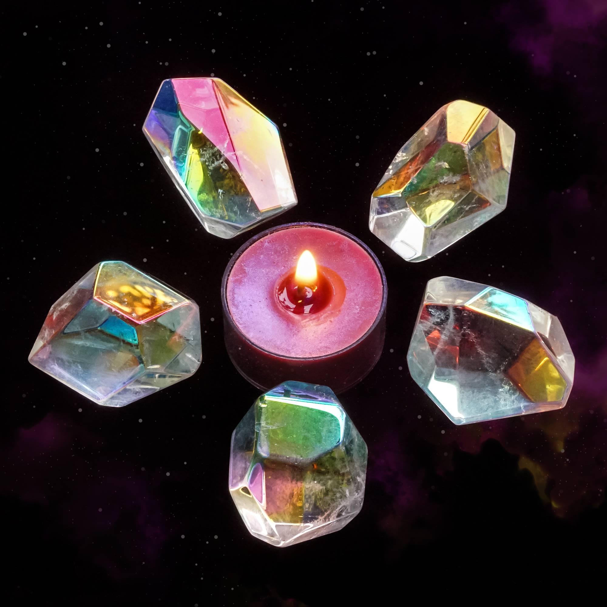 faceted angel aura quartz