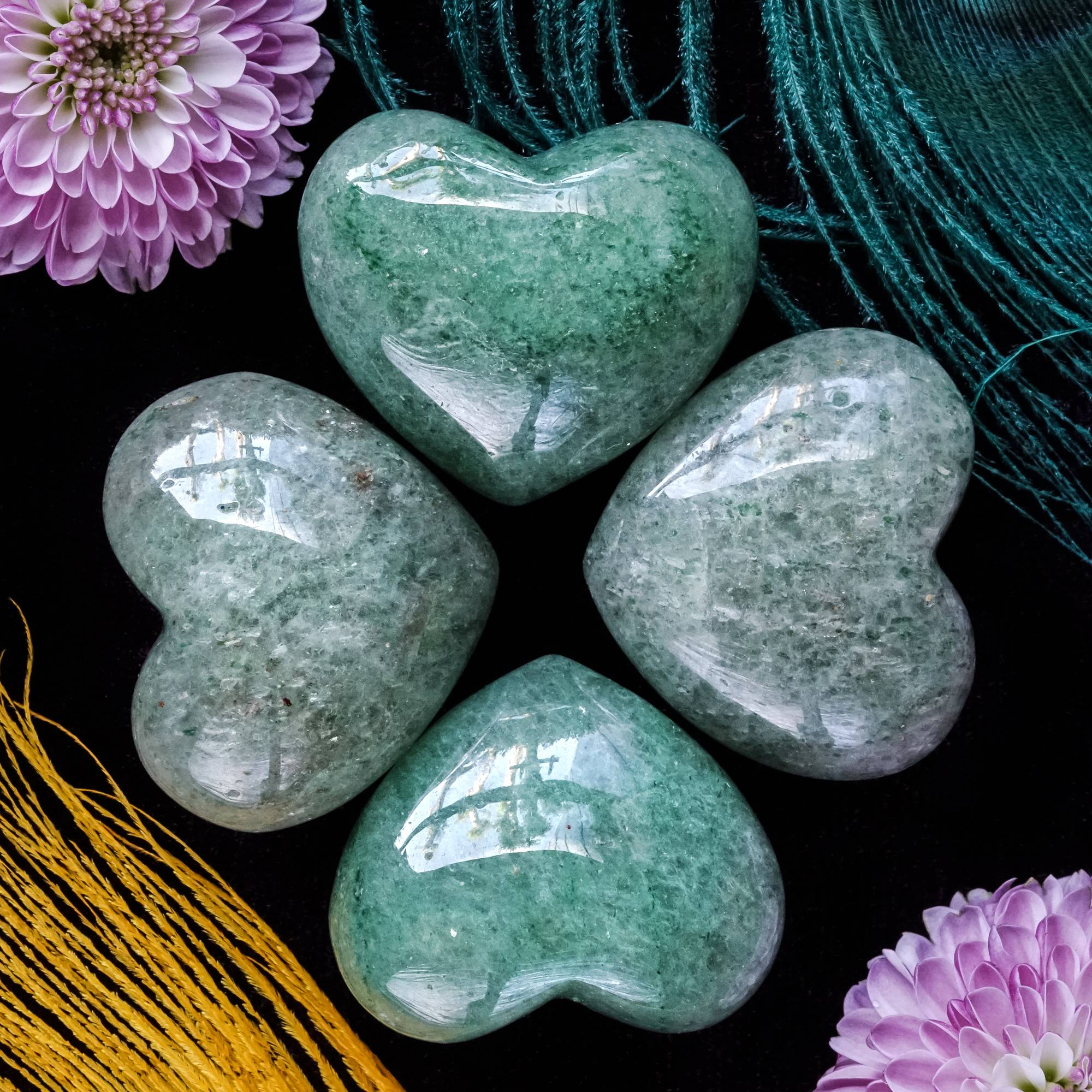 green aventurine hearts
