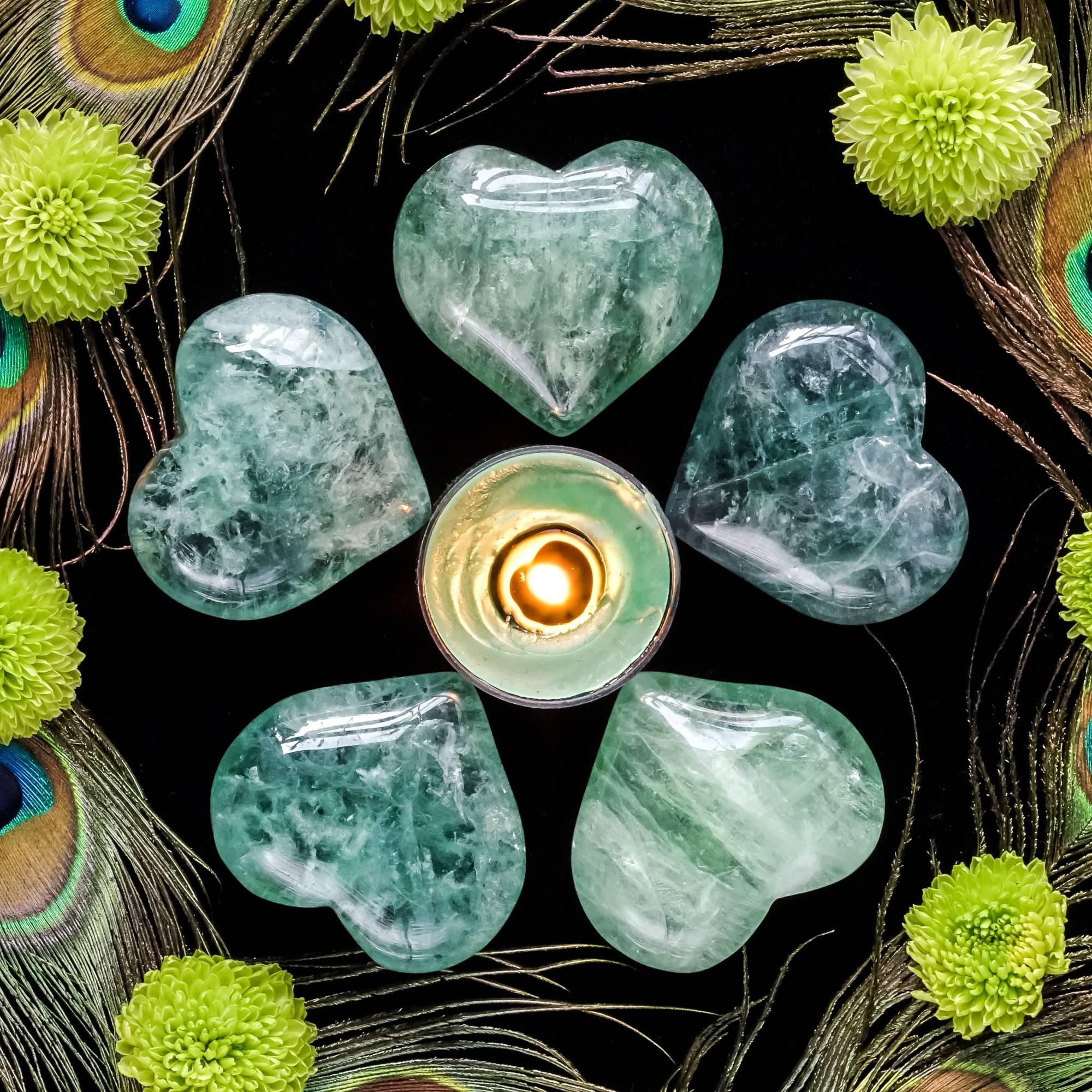 Green fluorite hearts