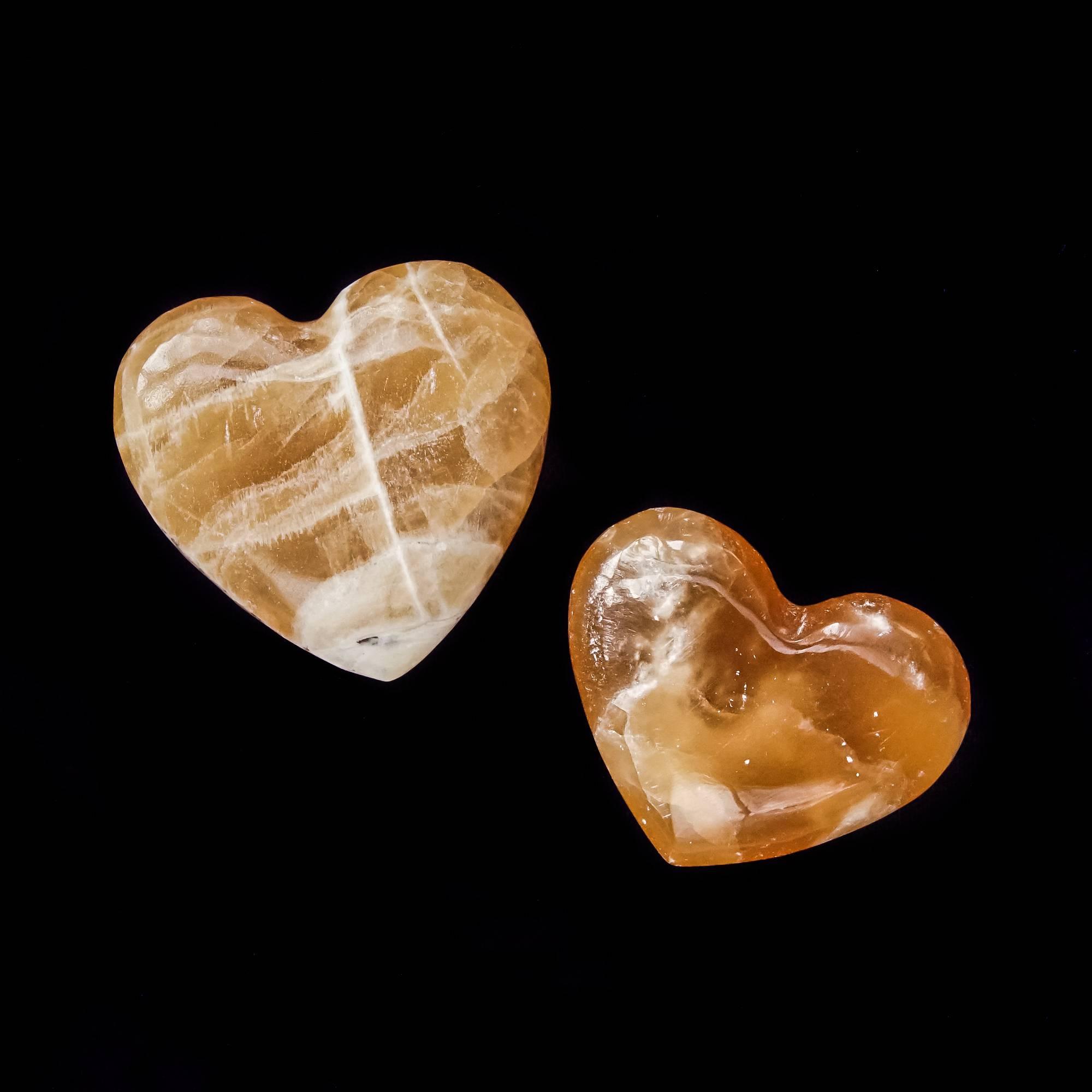 honey calcite hearts